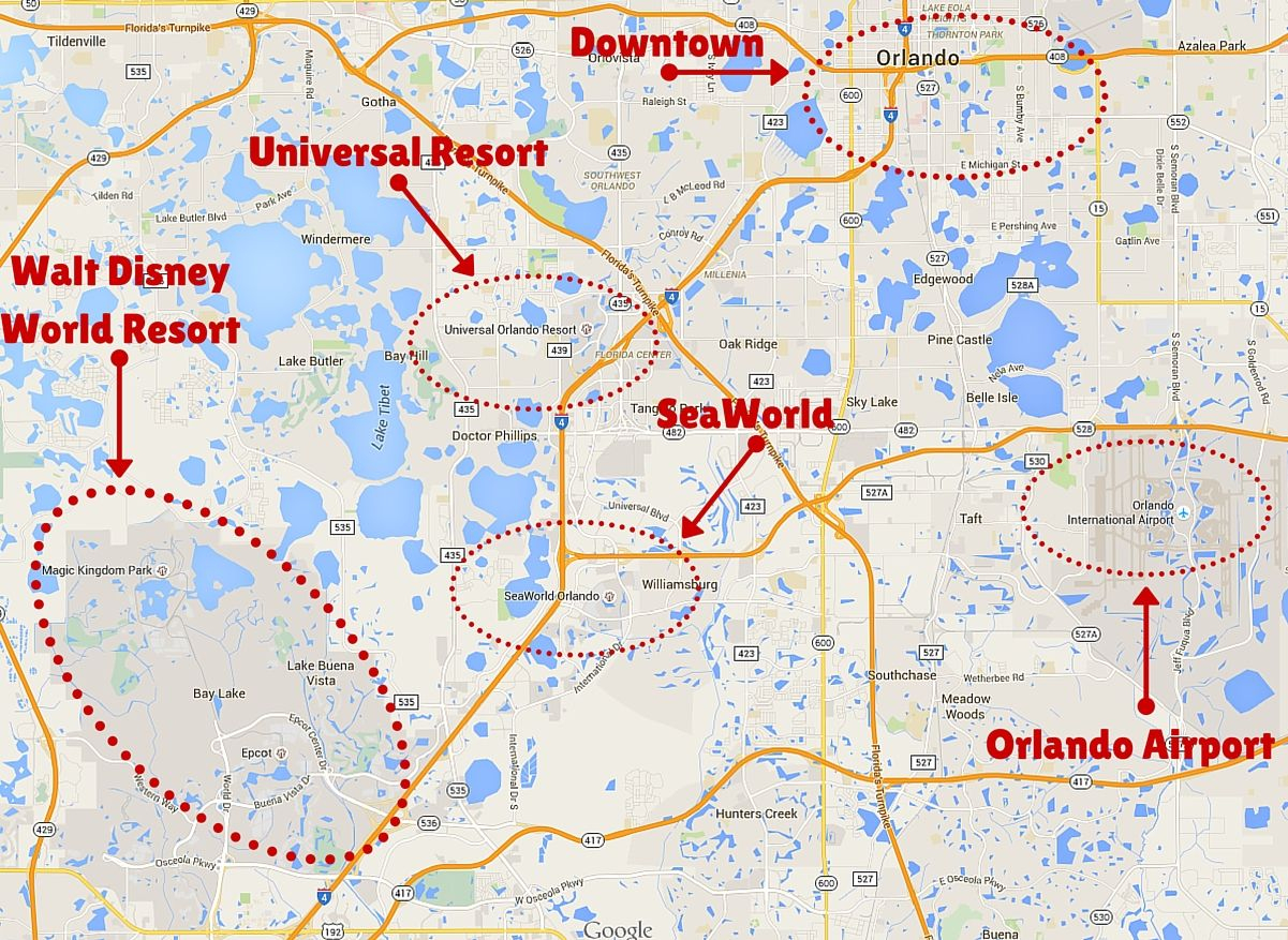Getting Around The Orlando Theme Parks | Disney | Orlando Theme - Florida Theme Parks On A Map