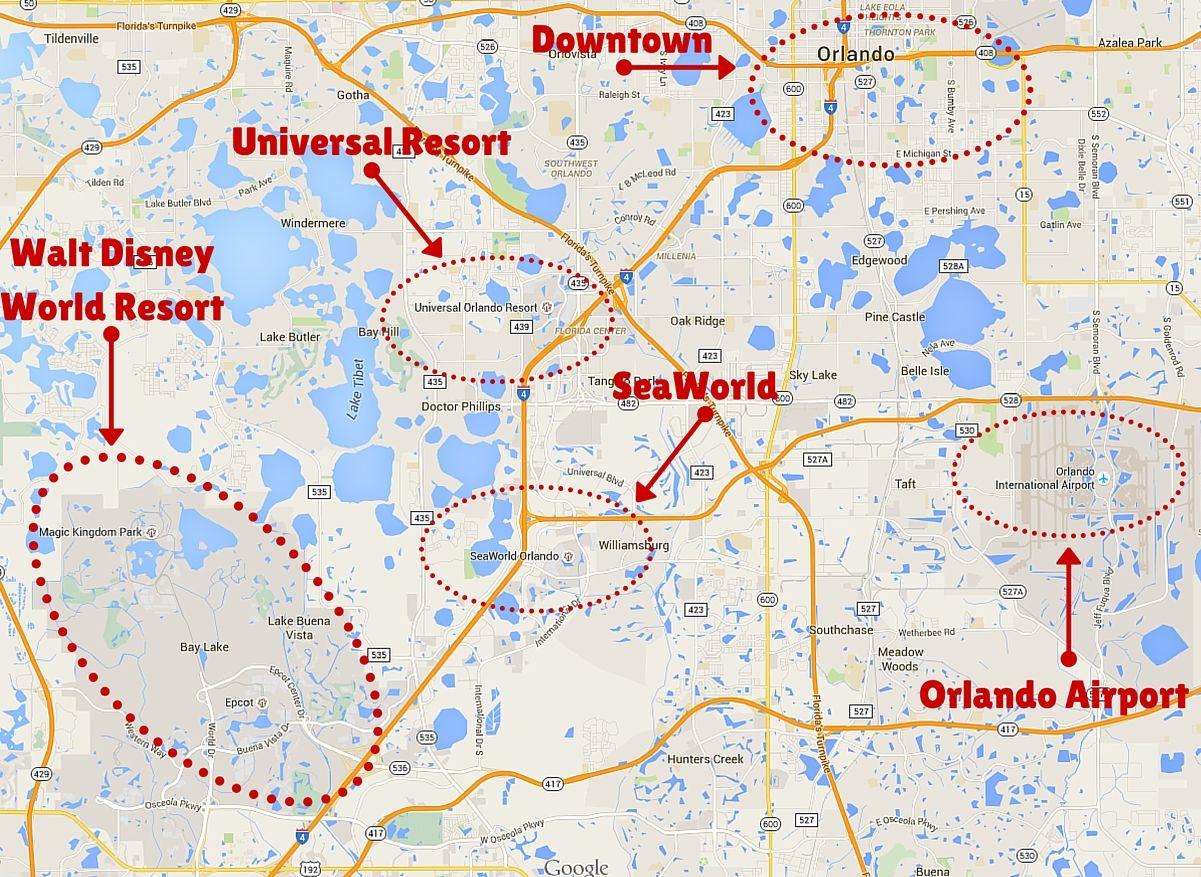 Getting Around The Orlando Theme Parks | Disney | Orlando Theme - Orlando Florida Theme Parks Map