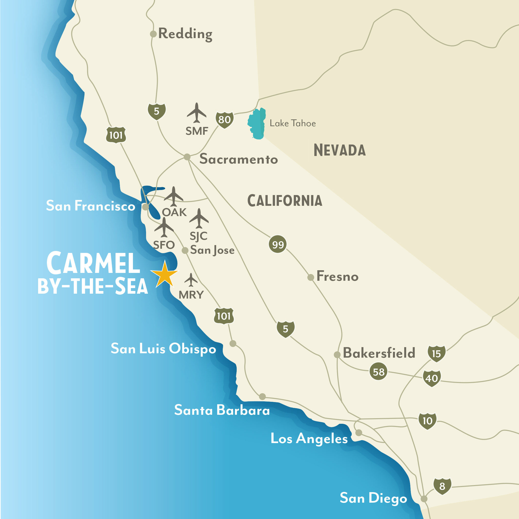 Getting To & Around Carmel-By-The-Sea, California - Picture Of California Map
