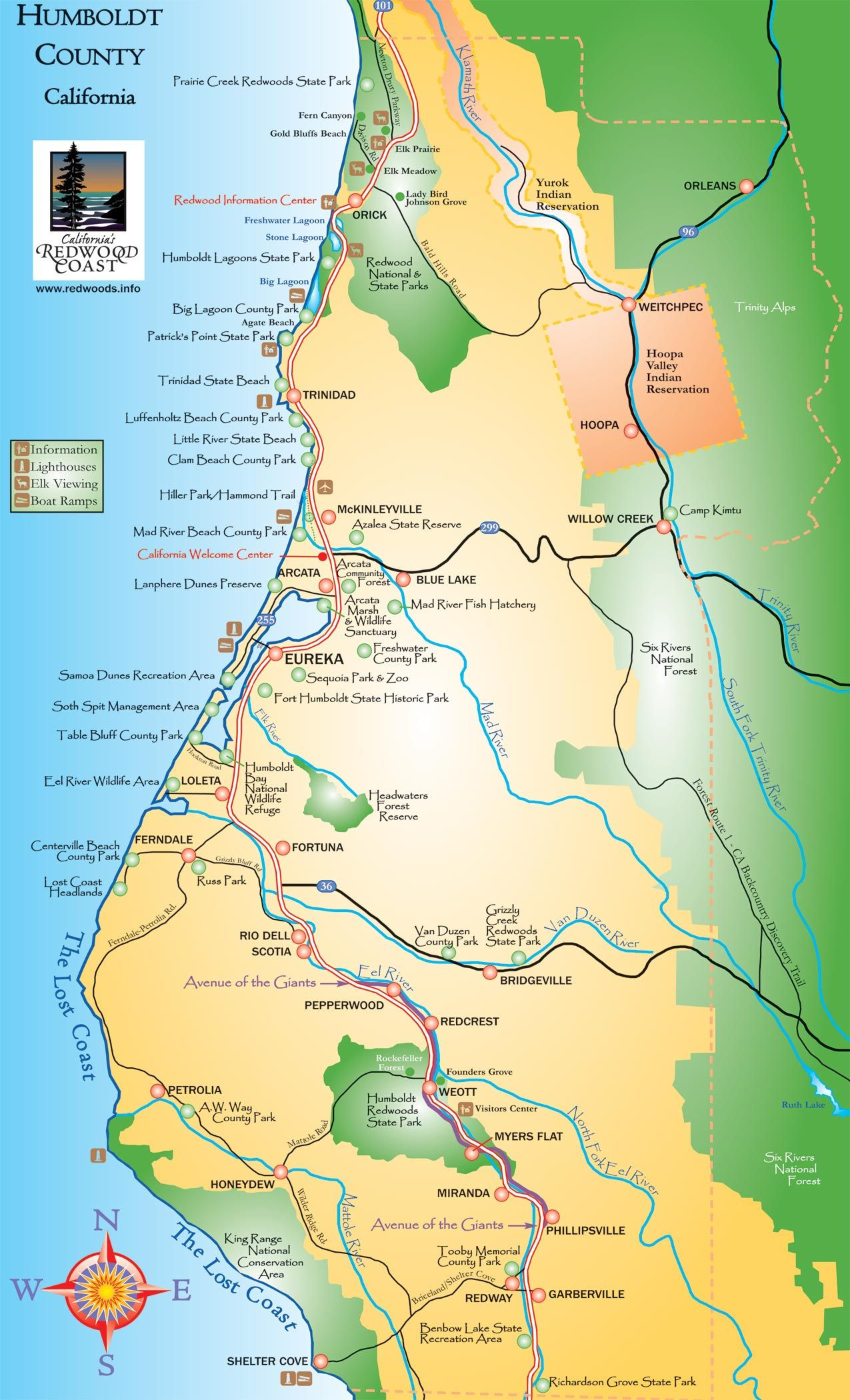 Giant Redwoods California Map Reference Humboldt County California - Avenue Of The Giants California Map