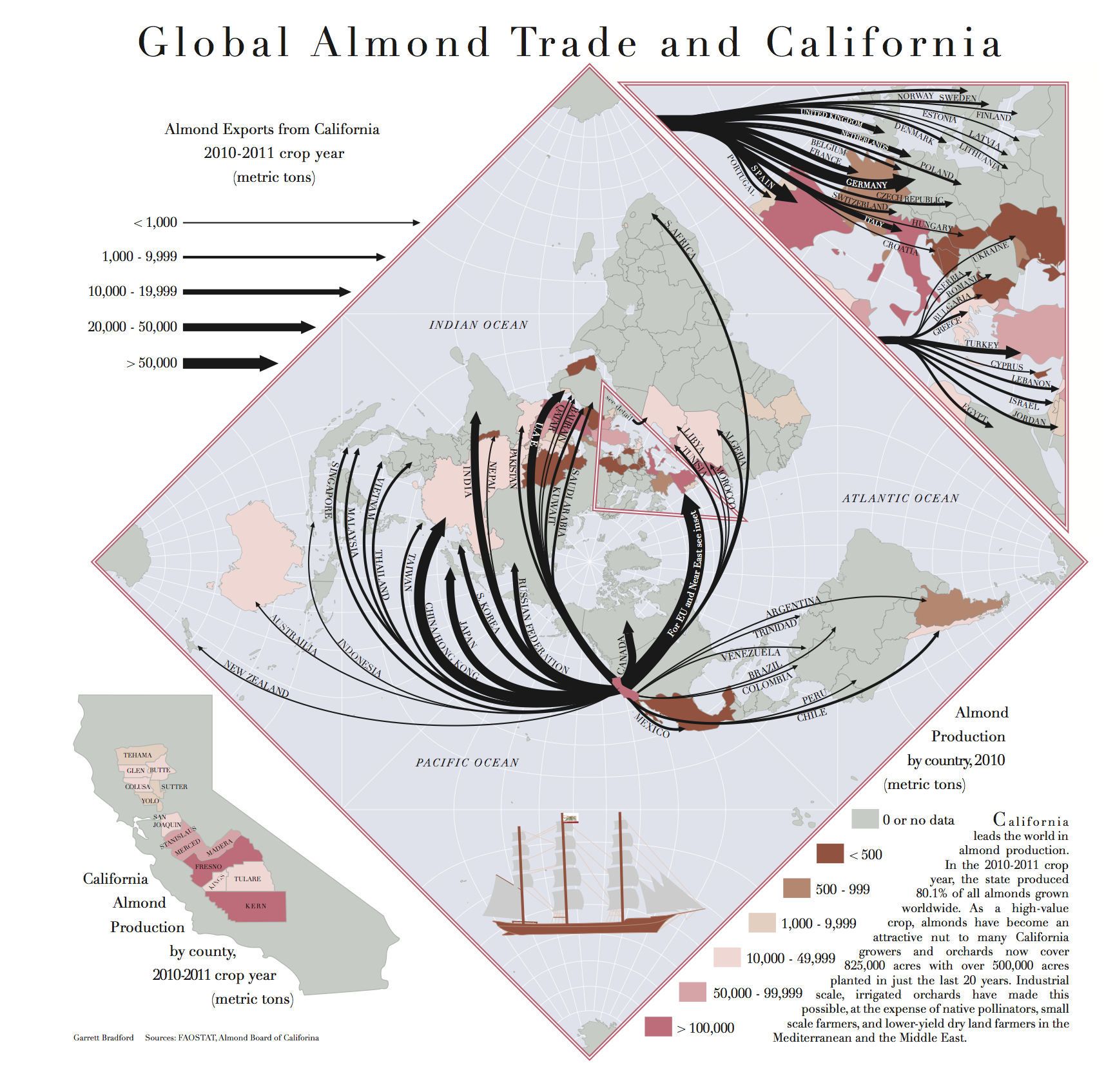 Global Almond Trade And California - A Mapgarrett Bradford - California Almond Production Map