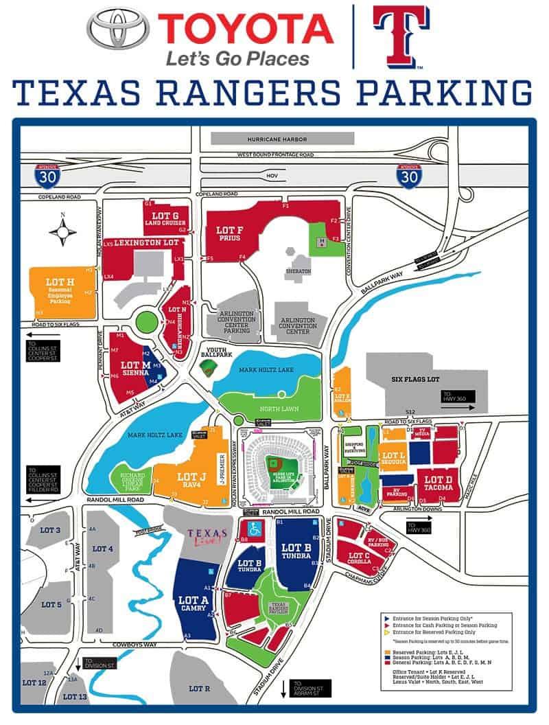 Globe Life Park In Arlington – Where To Park, Eat, And Get Cheap Tickets - Texas Rangers Ballpark Map