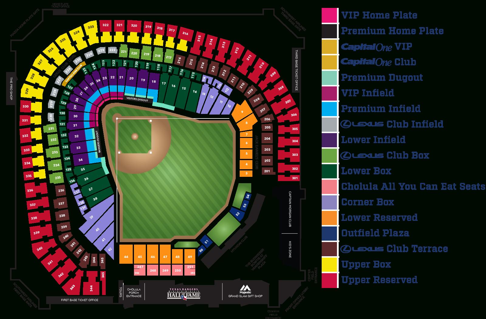 Globe Life Park Seating Map ~ Afp Cv - Texas Rangers Ballpark Map