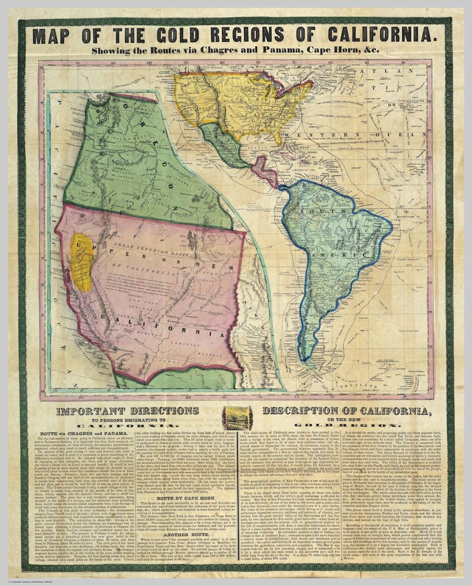 Gold Rush Map: Guided Prospectors Headed To California - California Gold Rush Map