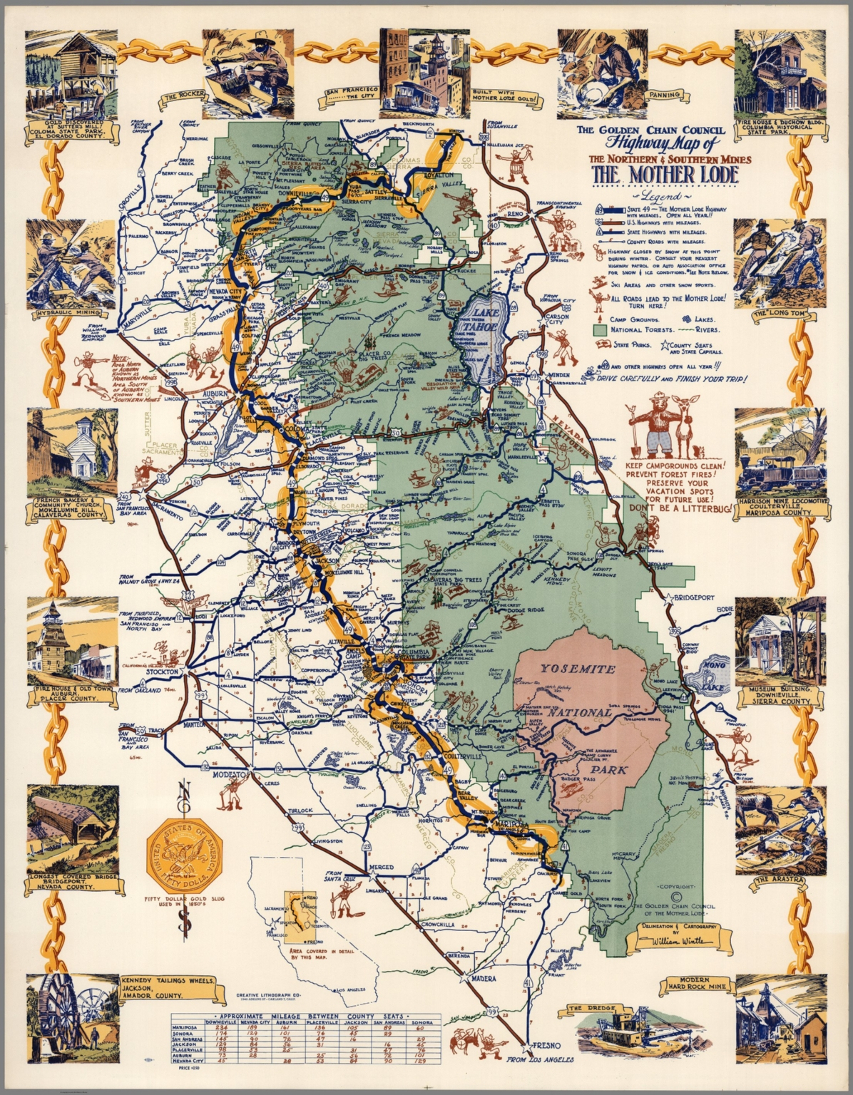 Golden Chain Council: Highway Map Of The Northern & Southern Mines - California Mother Lode Map