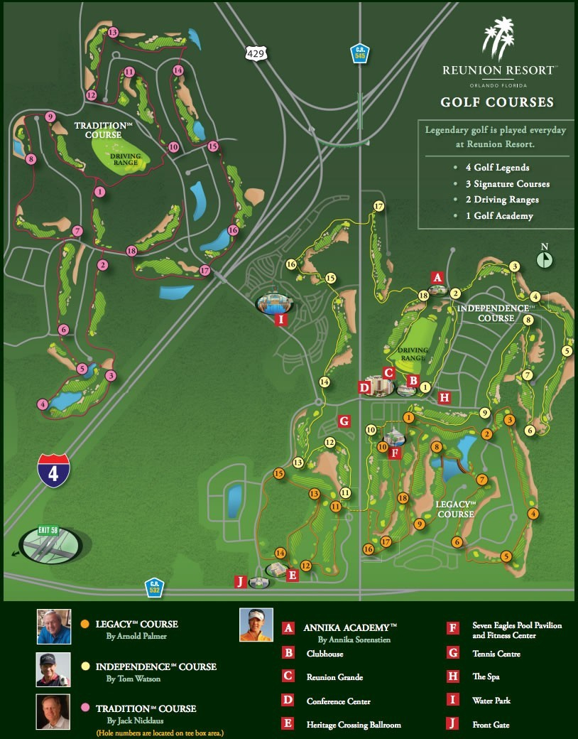 Golf Courses Map Reunion Resort Of Florida 0 3 | Globalsupportinitiative - Reunion Florida Map