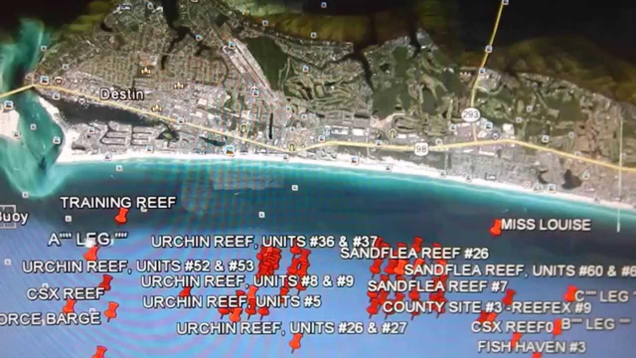 Google Earth Fishing - Destin Reef Overview - Youtube - Google Maps Destin Florida