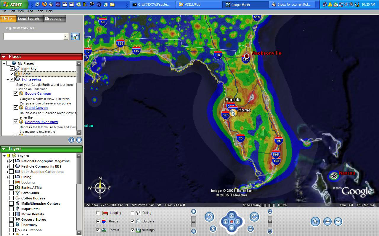 Google Earth - Light Pollution Map Florida