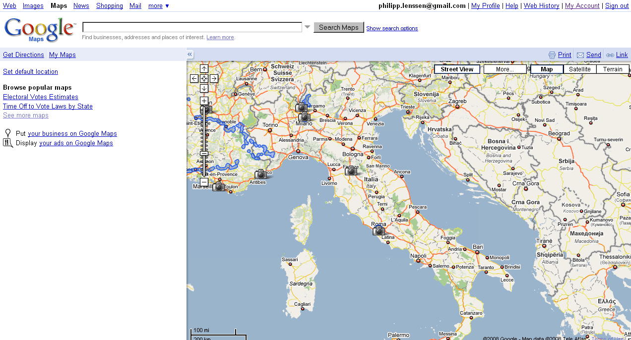 Google Italy Maps And Travel Information | Download Free Google - Google Maps Driving Directions Texas