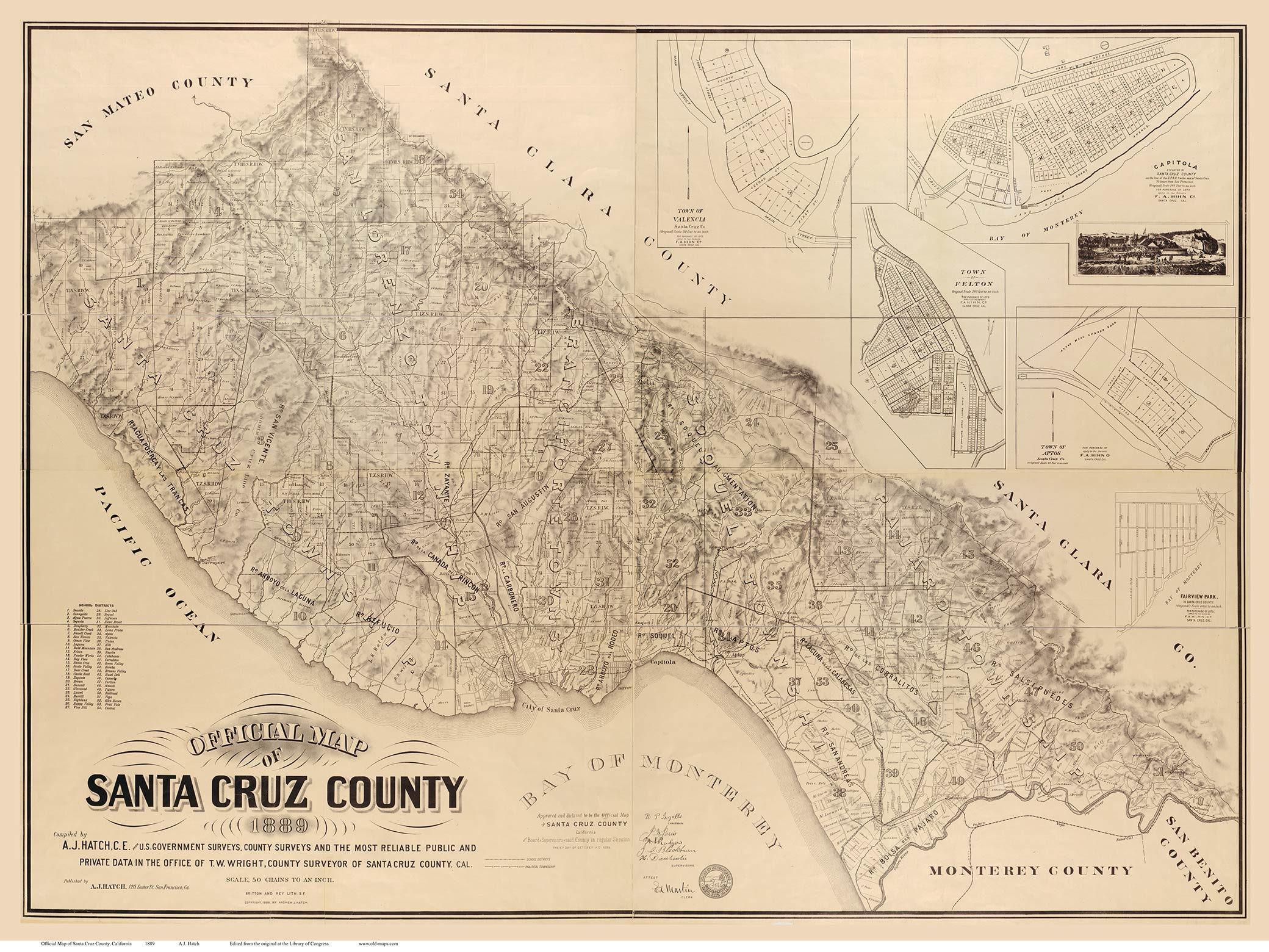 Google Maps Tulare Ca Valid Santa Cruz County California 1889 Old - Google Maps Santa Cruz California