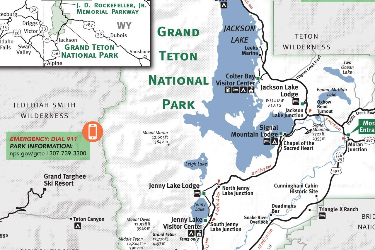 Grand Teton & Yellowstone National Park Map - Jackson Hole Traveler - Free Printable Map Of Yellowstone National Park