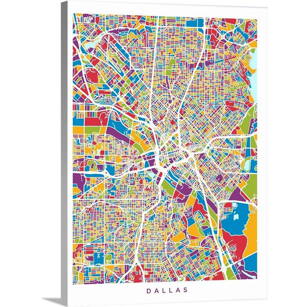 "Greatbigcanvas 18 In. X 24 In. ""dallas Texas City Map""michael - Texas Map Art"