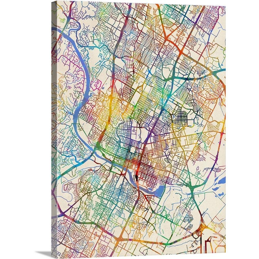 """Greatbigcanvas """"austin Texas City Map""""michael Tompsett Canvas - Map Of Texas Art"""