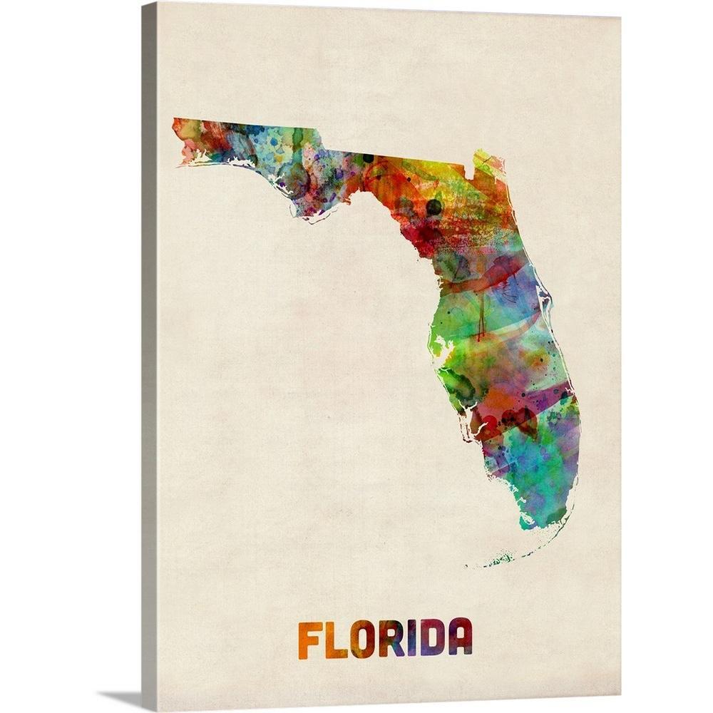 "Greatbigcanvas ""florida Watercolor Map""michael Tompsett Canvas - Florida Map Artwork"