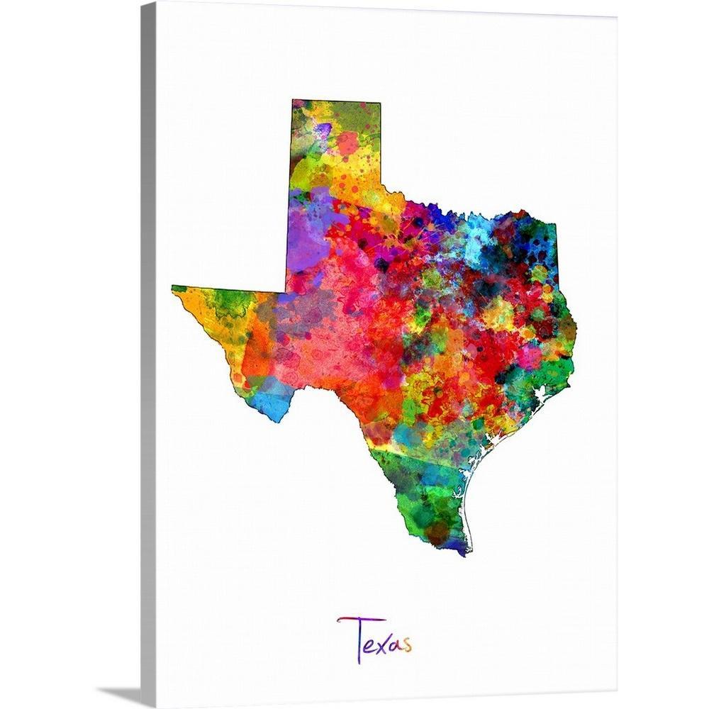 "Greatbigcanvas ""texas Map""michael Tompsett Canvas Wall Art - Map Of Texas Art"