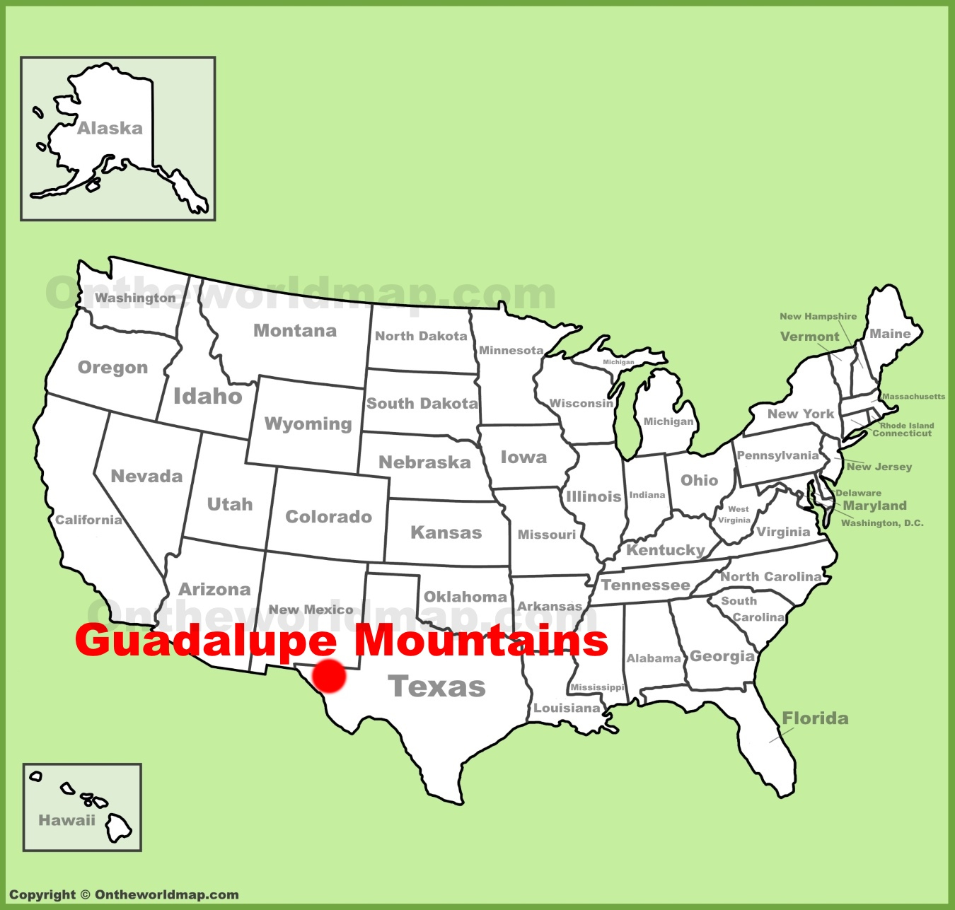 Guadalupe Mountains Location On The U.s. Map - Guadalupe California Map
