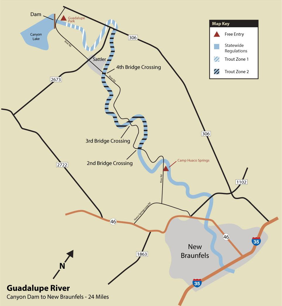 Guadalupe River Trout Fishing - Texas Wade Fishing Maps