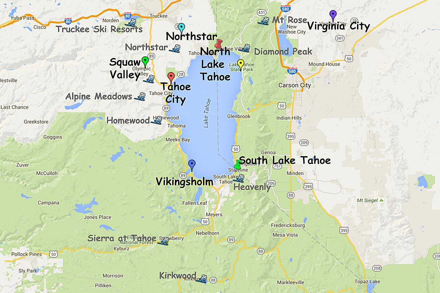 Guide To Planning A Lake Tahoe California Vacation - Lake Tahoe California Map