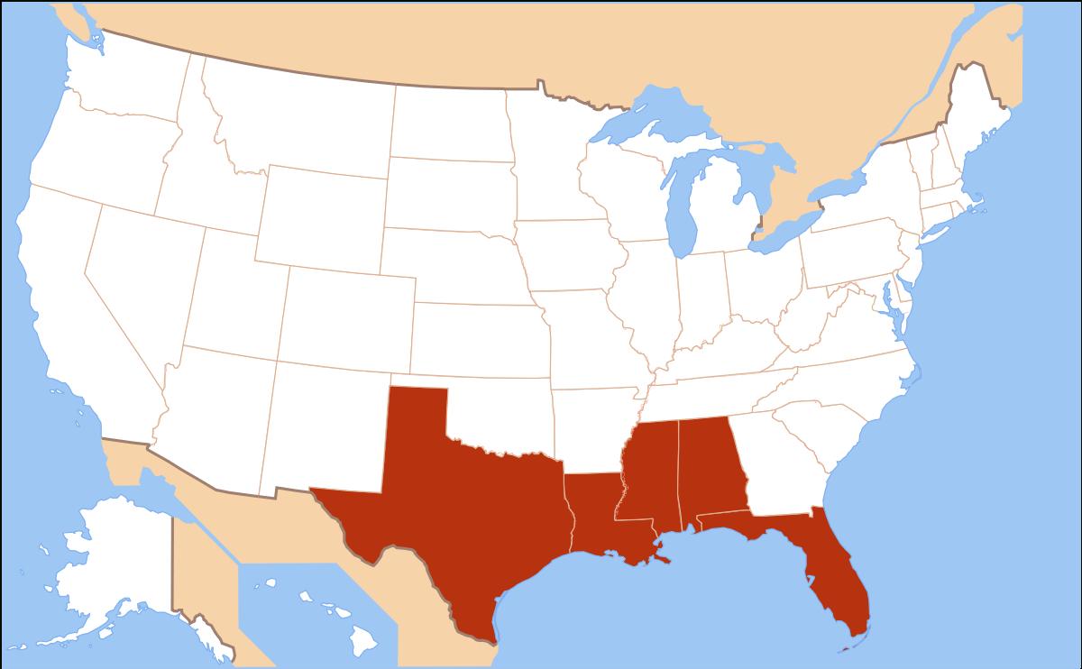 Gulf Coast Of The United States - Wikipedia - Florida Gulf Coastline Map