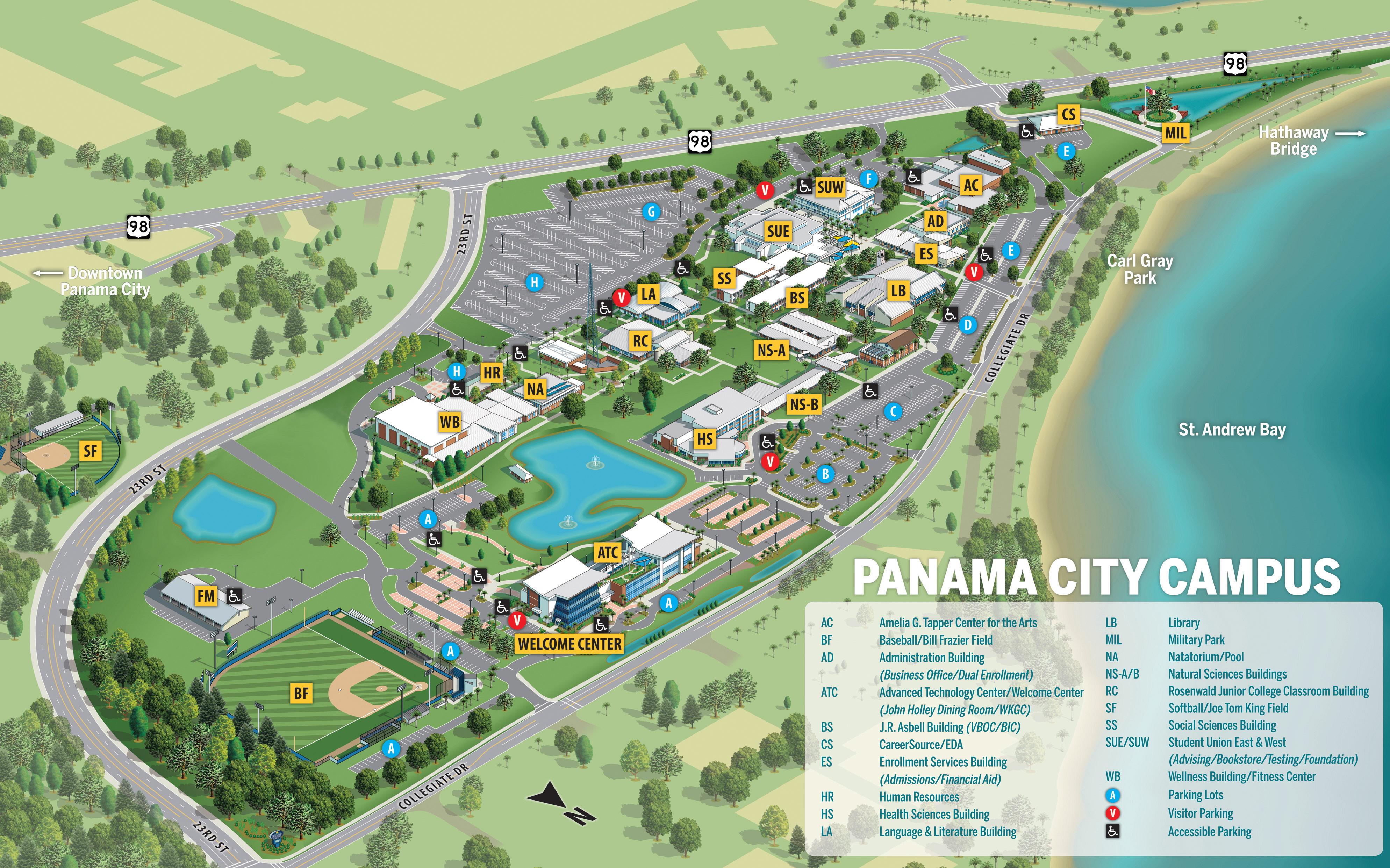 Gulf Coast State College   Campus Locations - Map Of Panama City Beach Florida