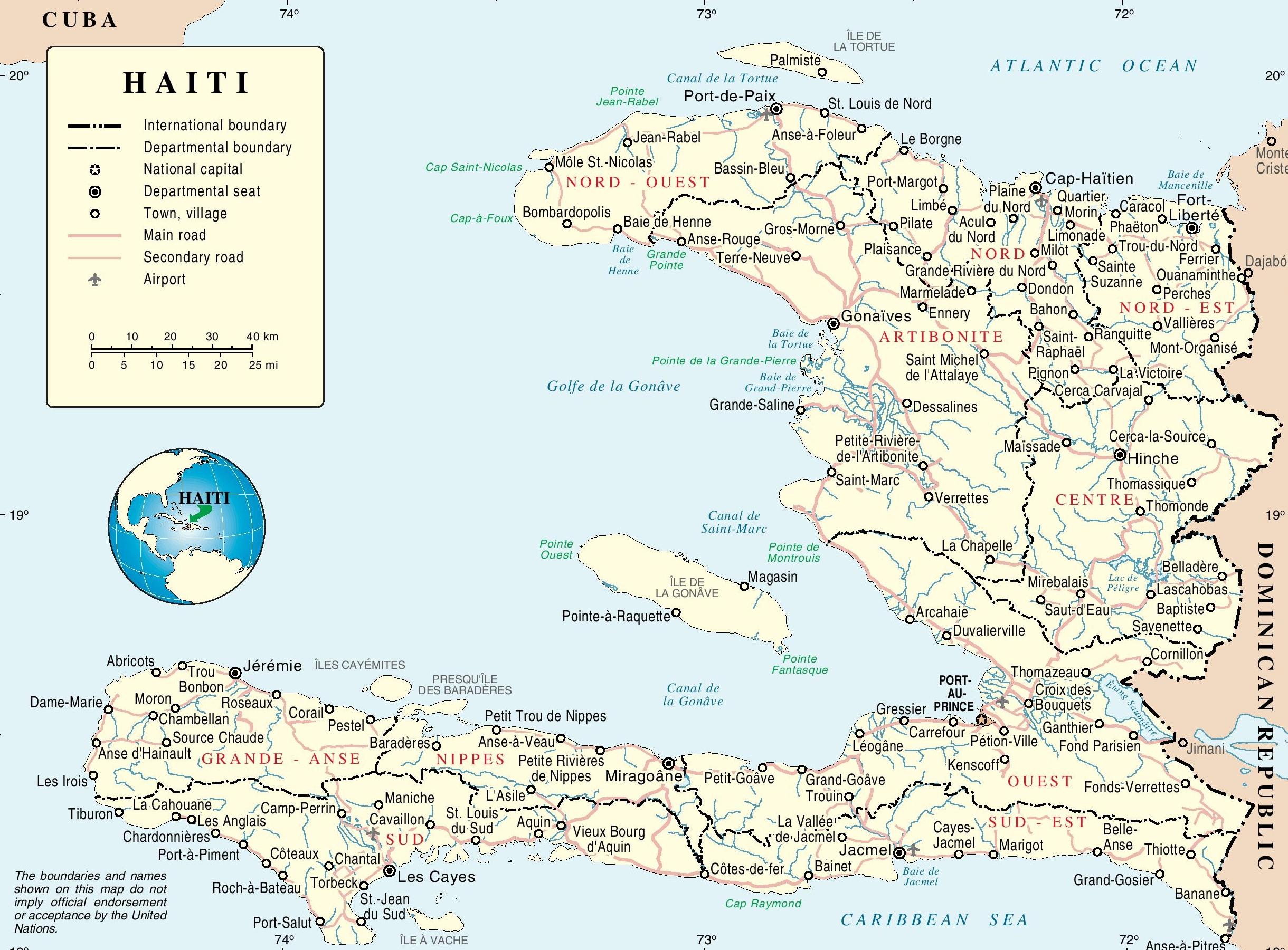 Haiti Political Map - Printable Map Of Haiti