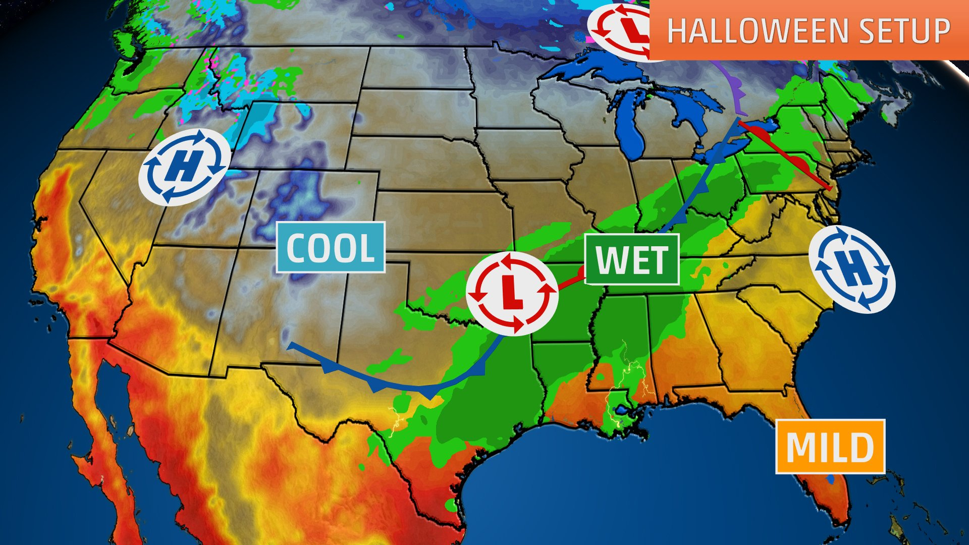 Halloween Weather Forecast: Wet Conditions From Texas To Ohio Valley - Texas Weather Map Today