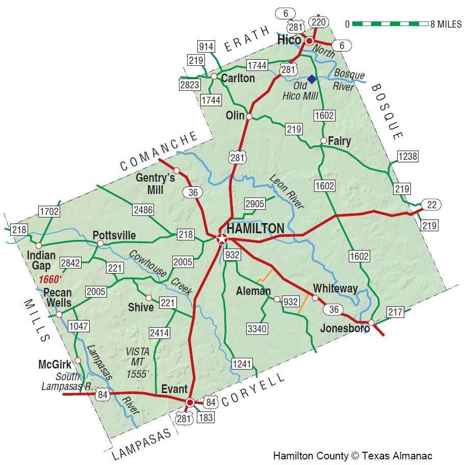 Hamilton County | The Handbook Of Texas Online| Texas State - Erath County Texas Map