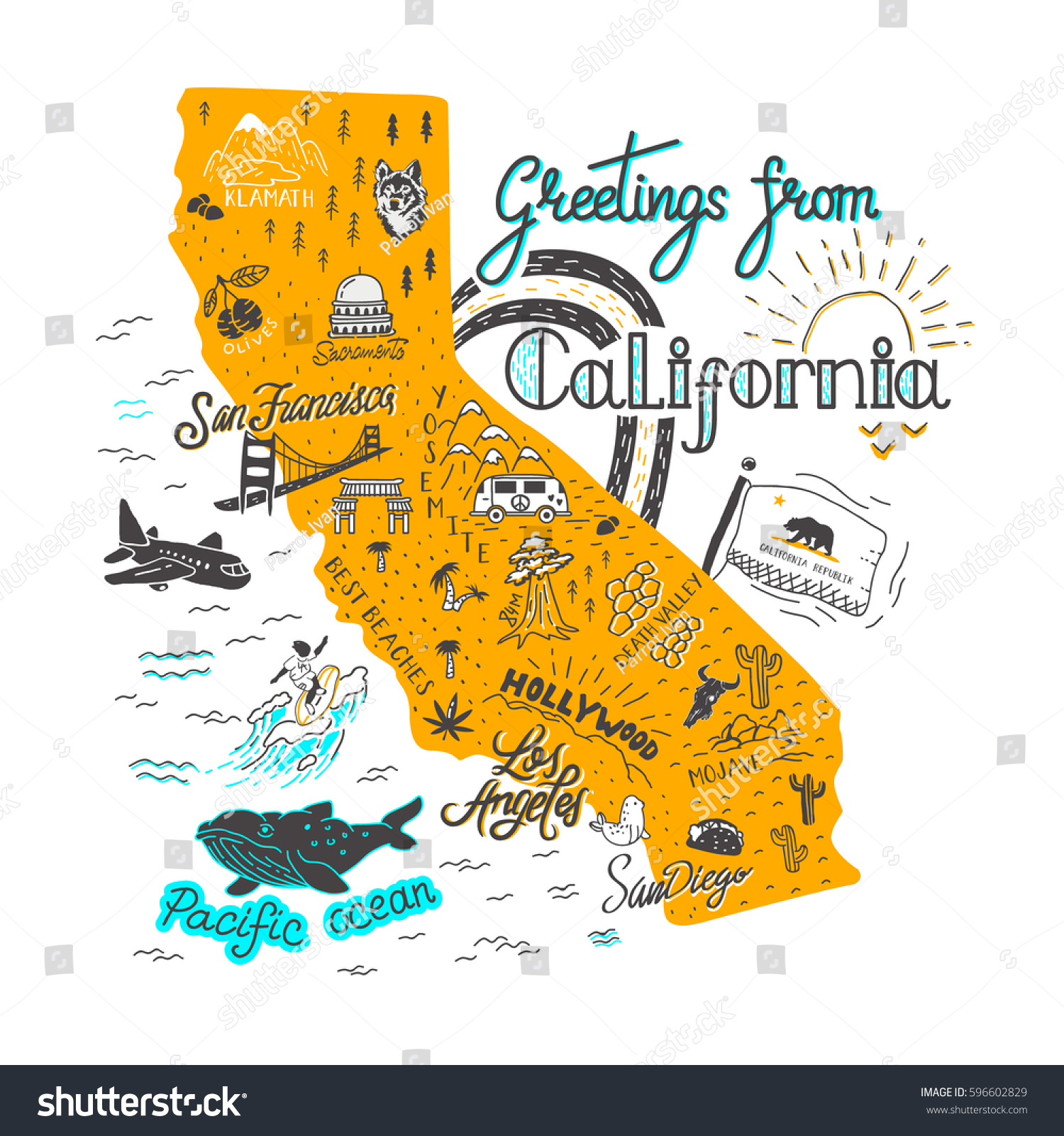 Hand Drawn Illustration California Map Tourist Stock Vector (Royalty - California Attractions Map
