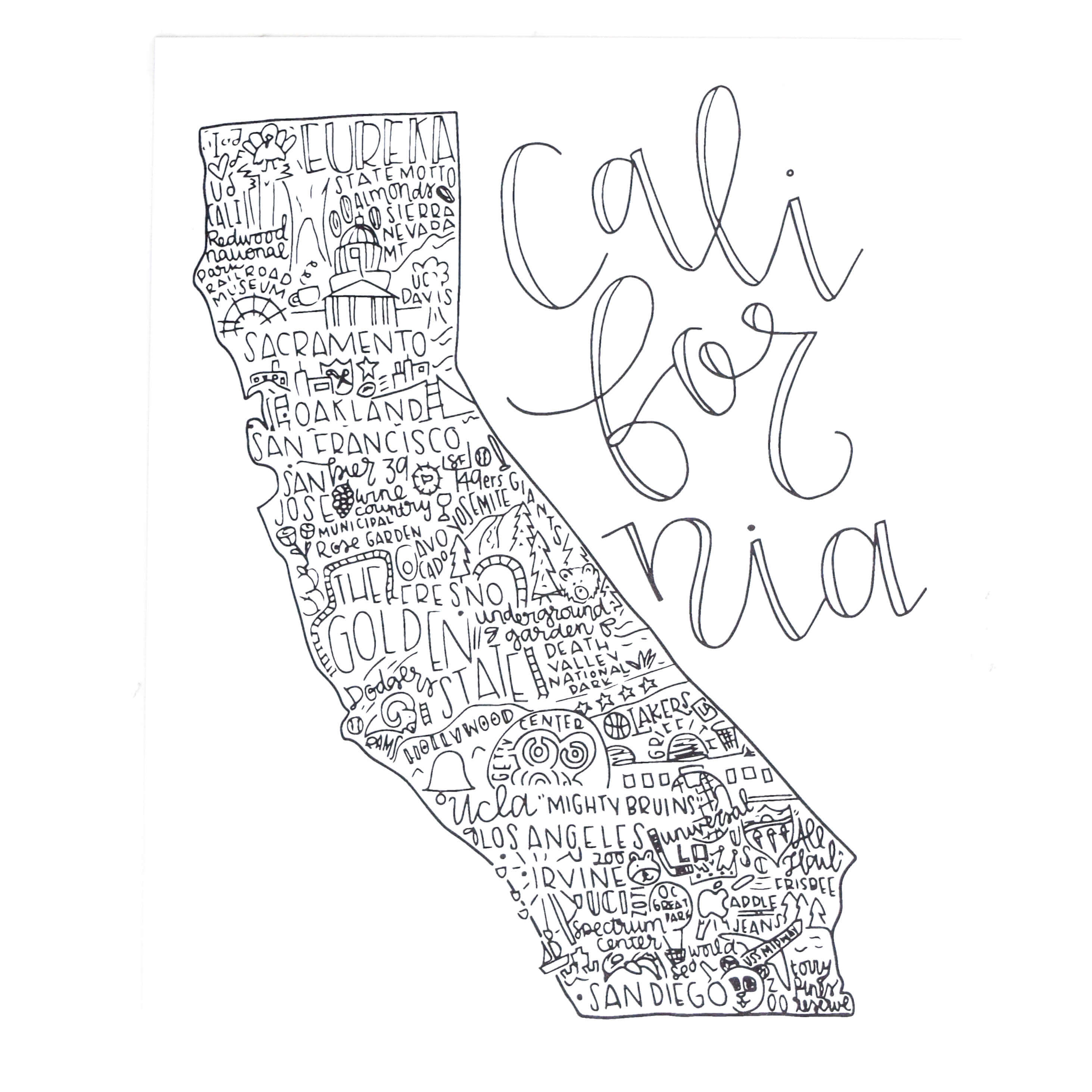 Hand-Lettered Map Of California Poster | Create Your Own Care Package - California Map Poster