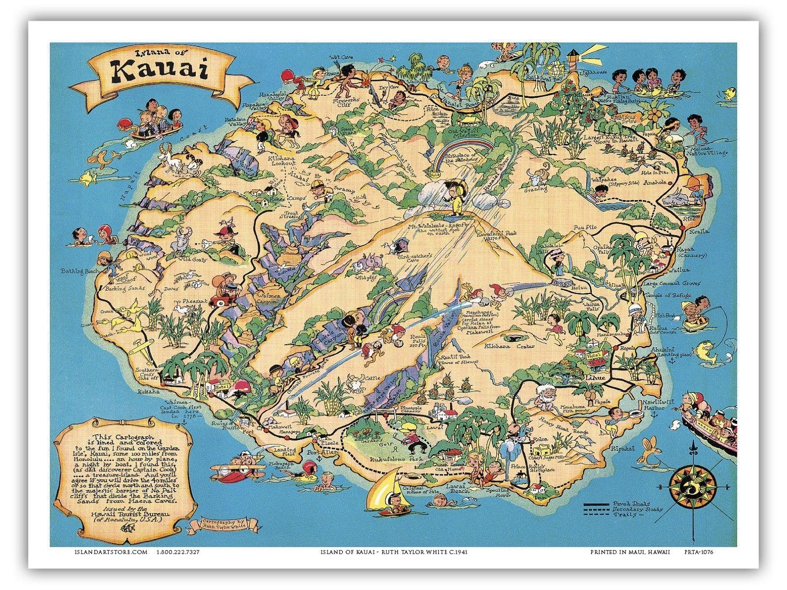 Hawaii Island Map Kauai - White - 1941 Vintage Travel Poster Print - Printable Map Of Kauai