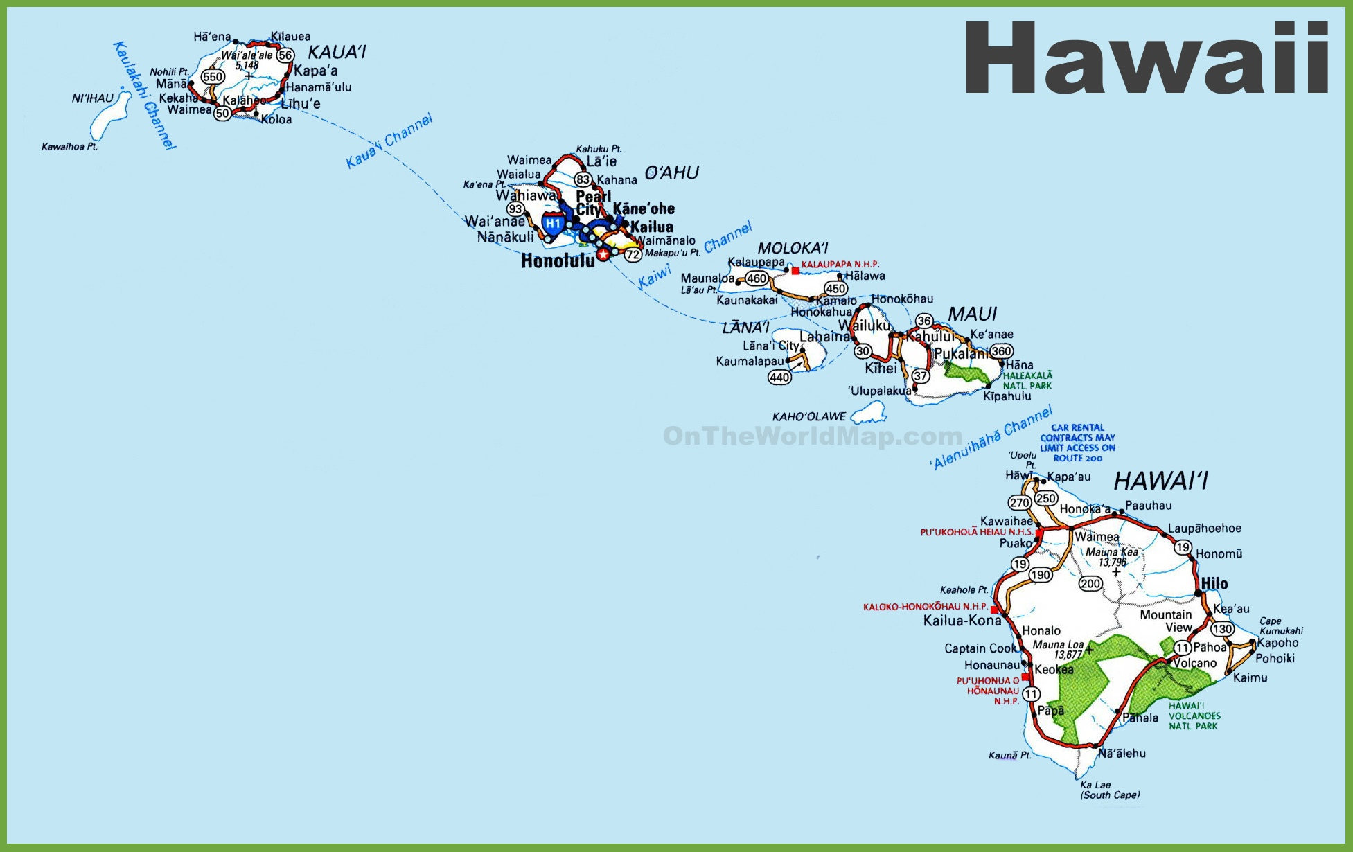 Hawaii Road Map Blank Map Map Of Hawaiian Islands And California - Map Of Hawaiian Islands And California