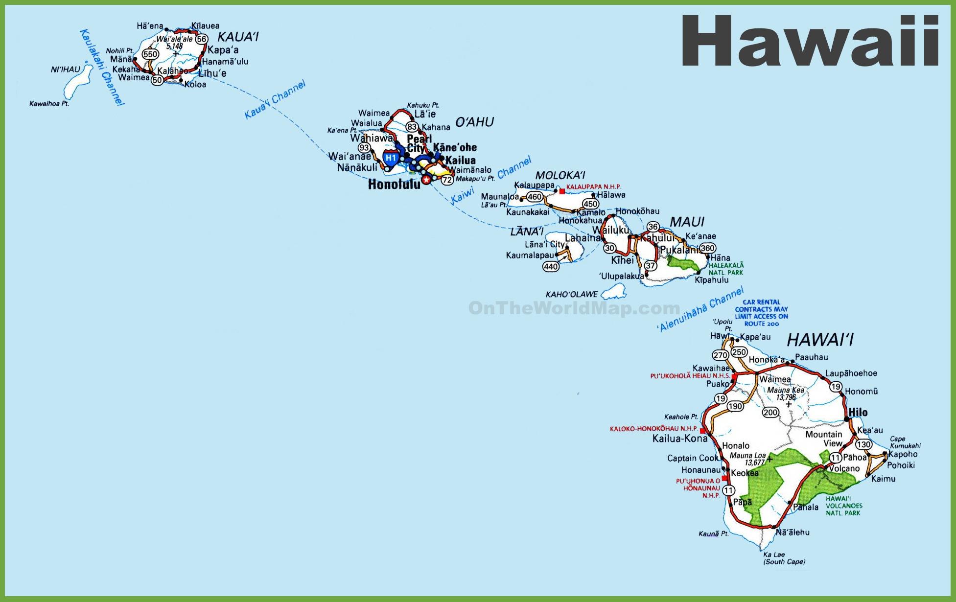Hawaii Road Map Blank Map Map Of Hawaiian Islands And California - Map Of Hawaiian Islands And California