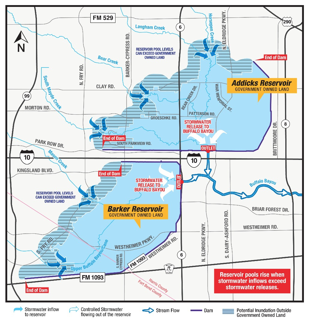 Hcfcd - Flooding Impacts In Connection With The Reservoirs - Barker Texas Map
