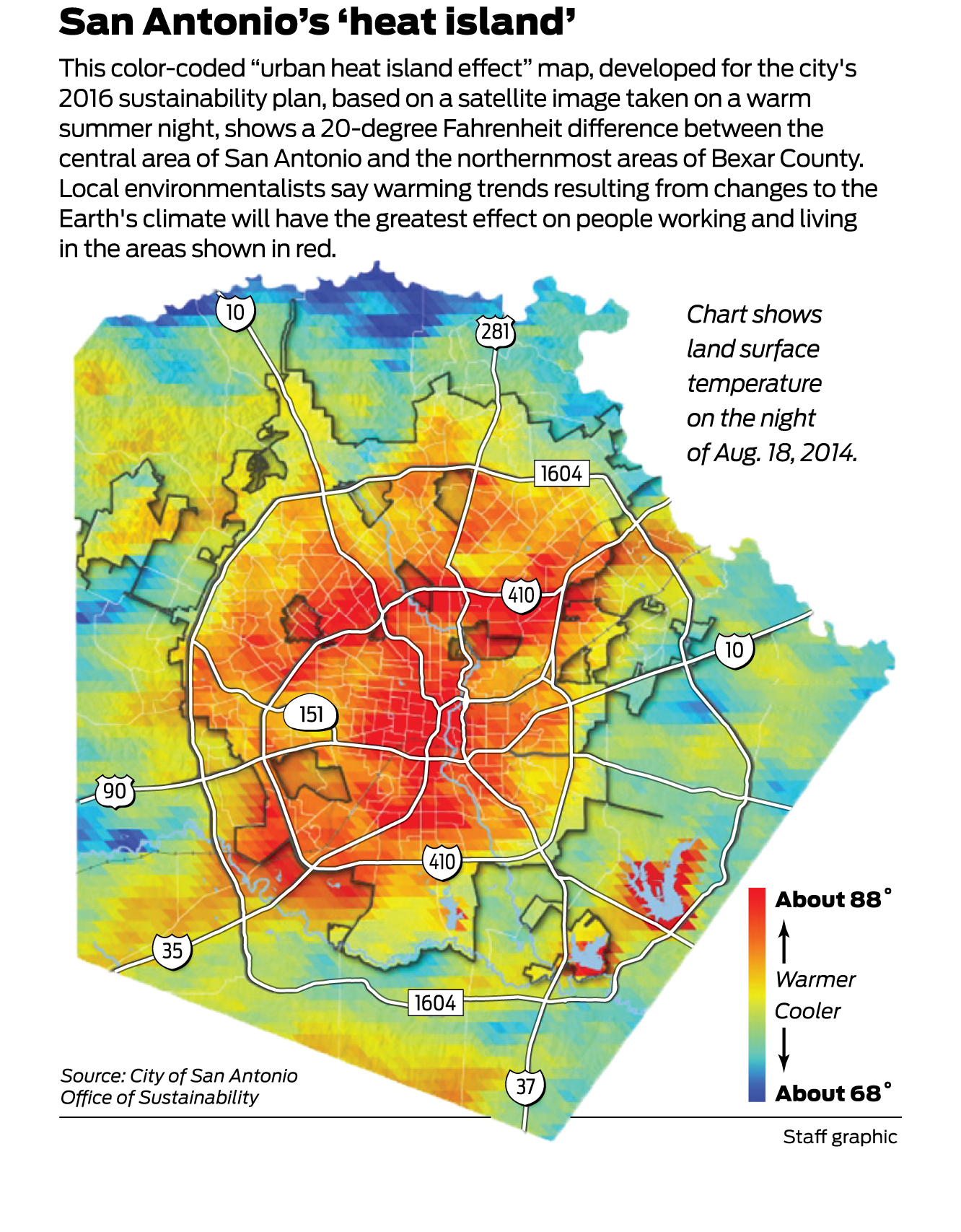 Heat Map Of San Antonio Conveys What's At Stake In Climate Plan - Texas Heat Map