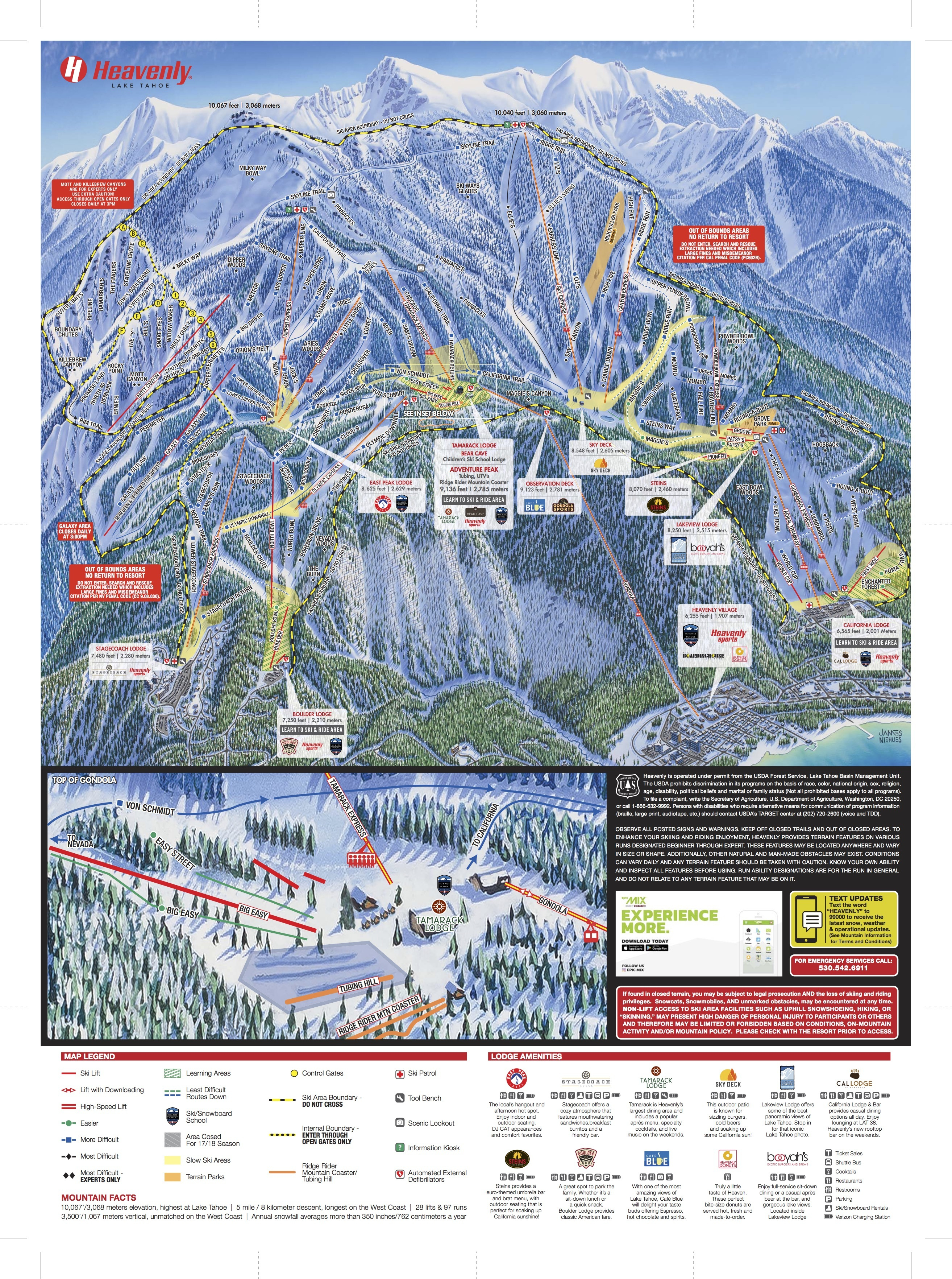 Heavenly Mountain Resort Trail Map | Onthesnow - Northern California Hiking Map