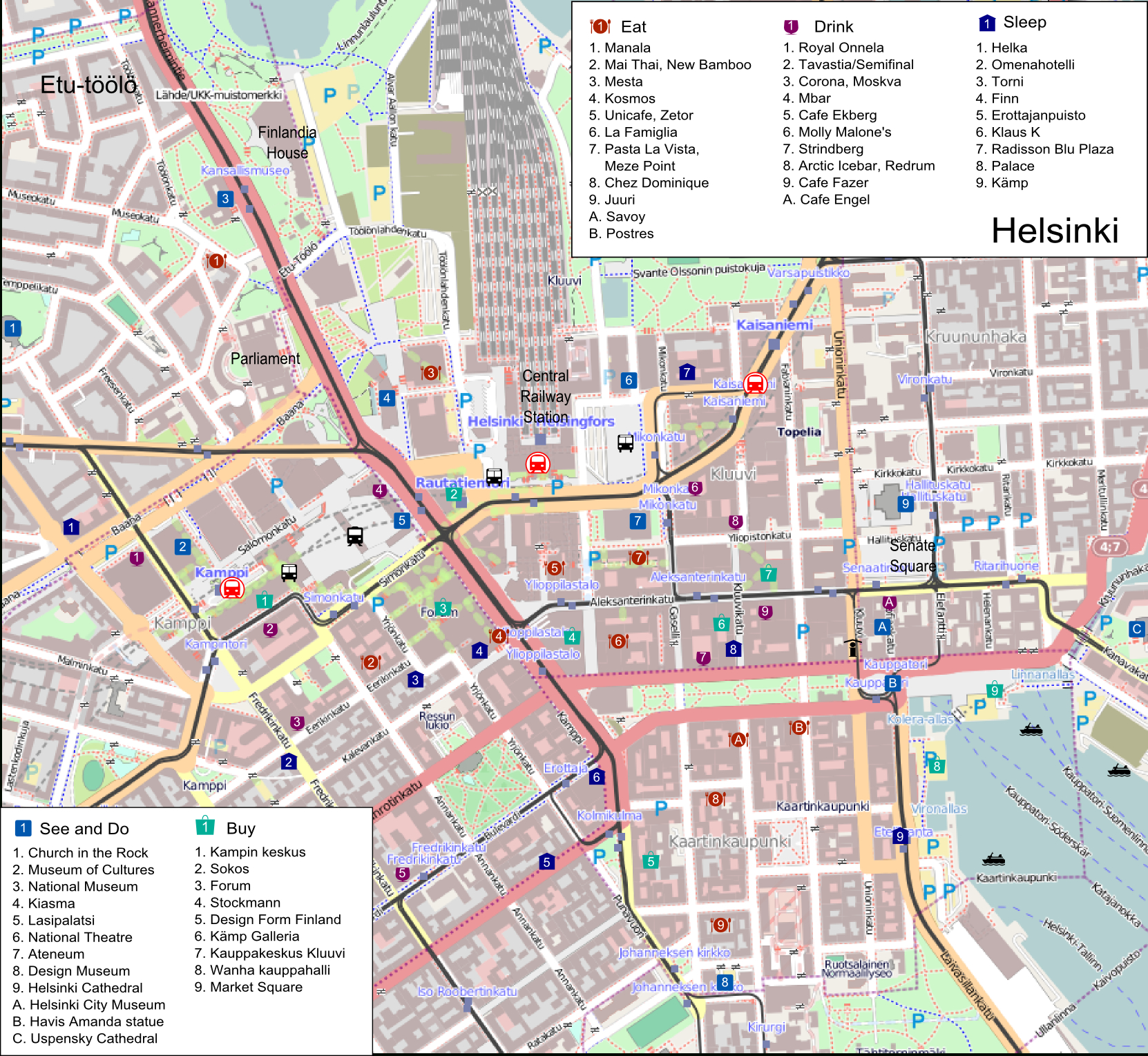Helsinki Itineraries – Travel Guide At Wikivoyage - Helsinki City Map Printable