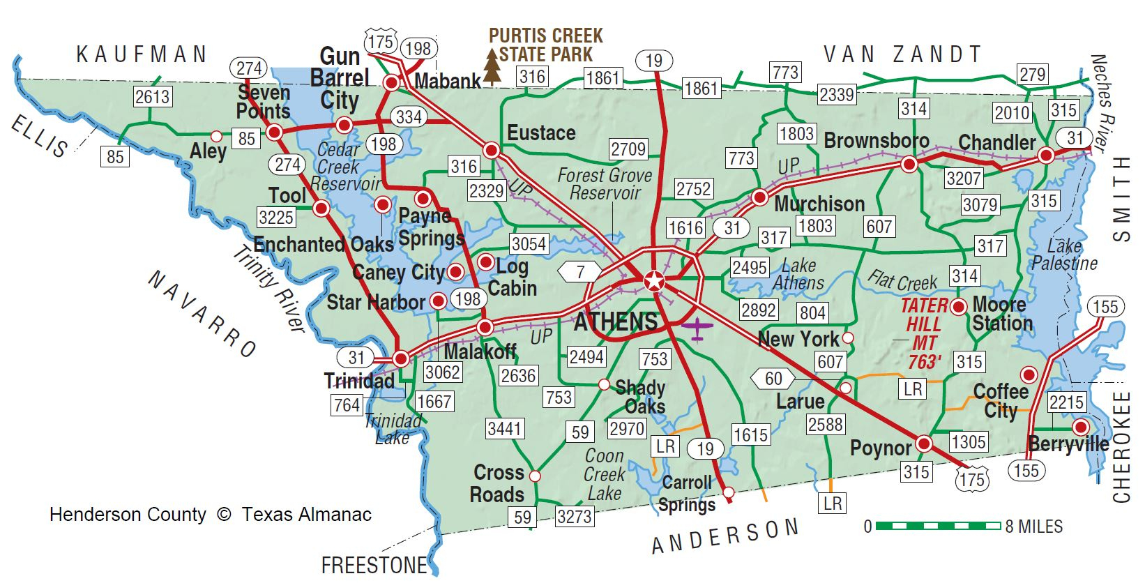 Henderson County | The Handbook Of Texas Online| Texas State - Van Zandt County Texas Map
