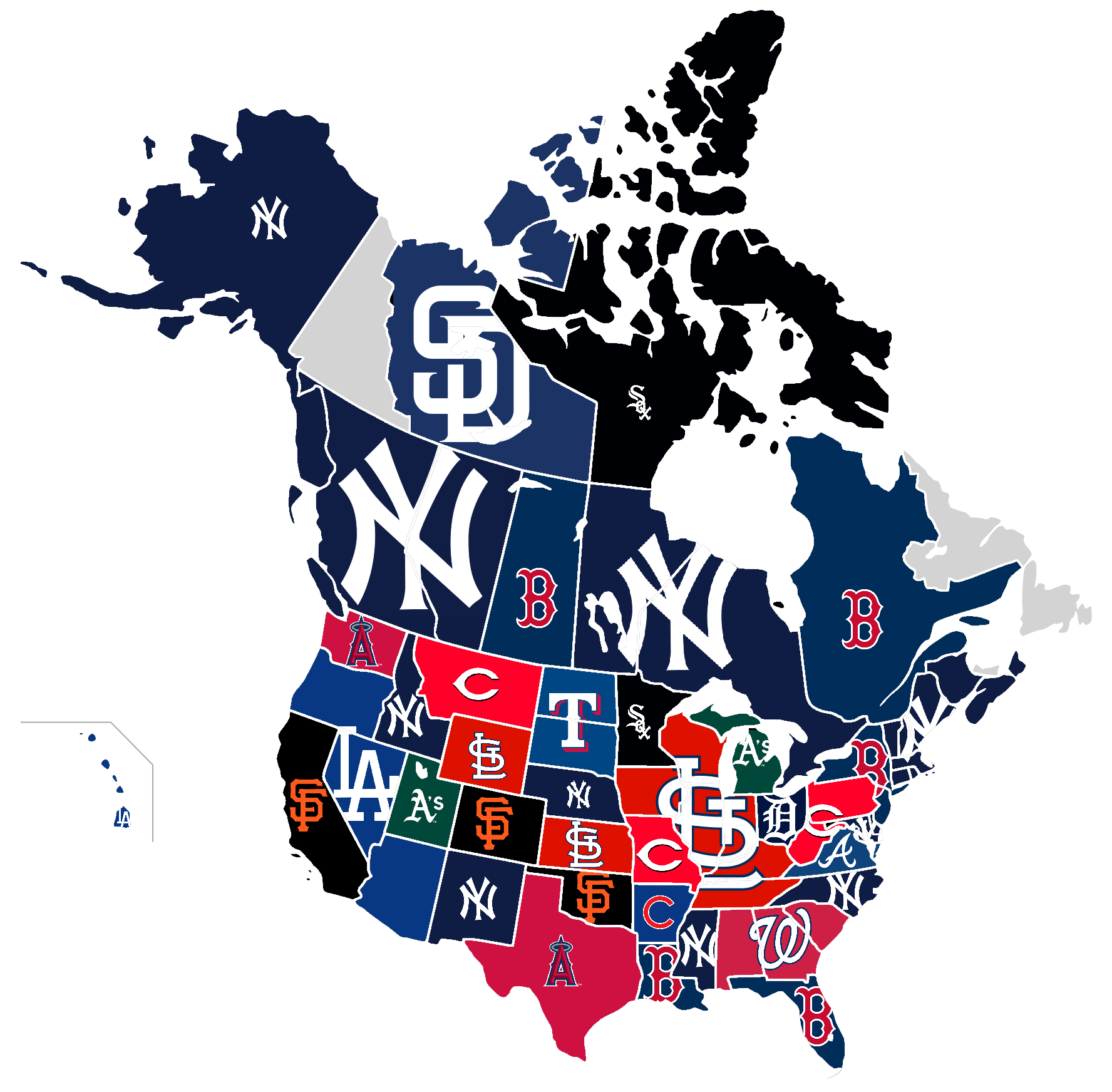 Here Are The Most Hated Mlb Teams In Each State, /u/scolbert08 Was - California Baseball Teams Map