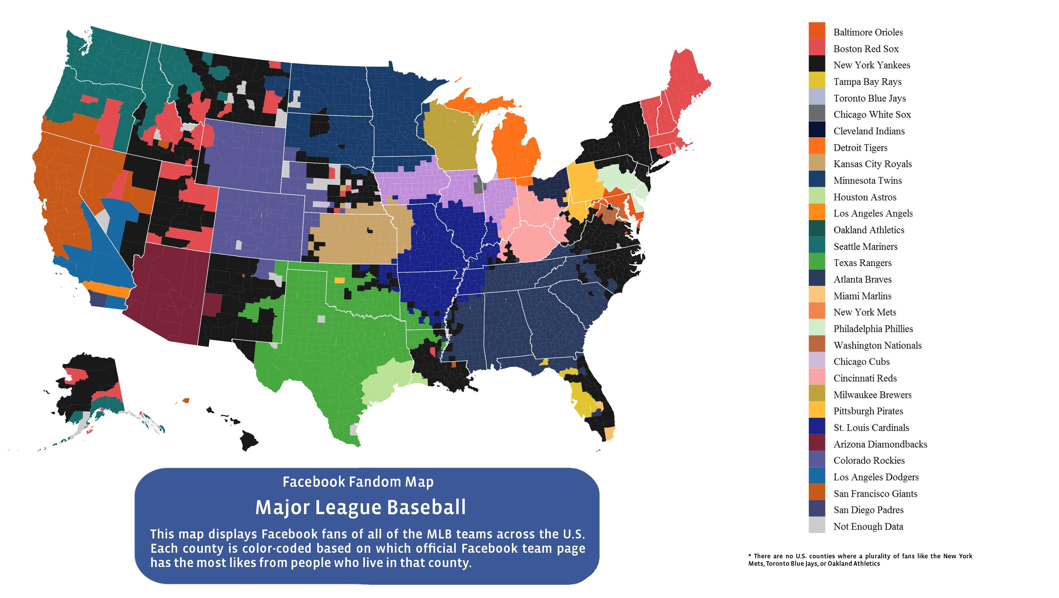 Here Is Every U.s. County's Favorite Baseball Team (According To - California Baseball Teams Map