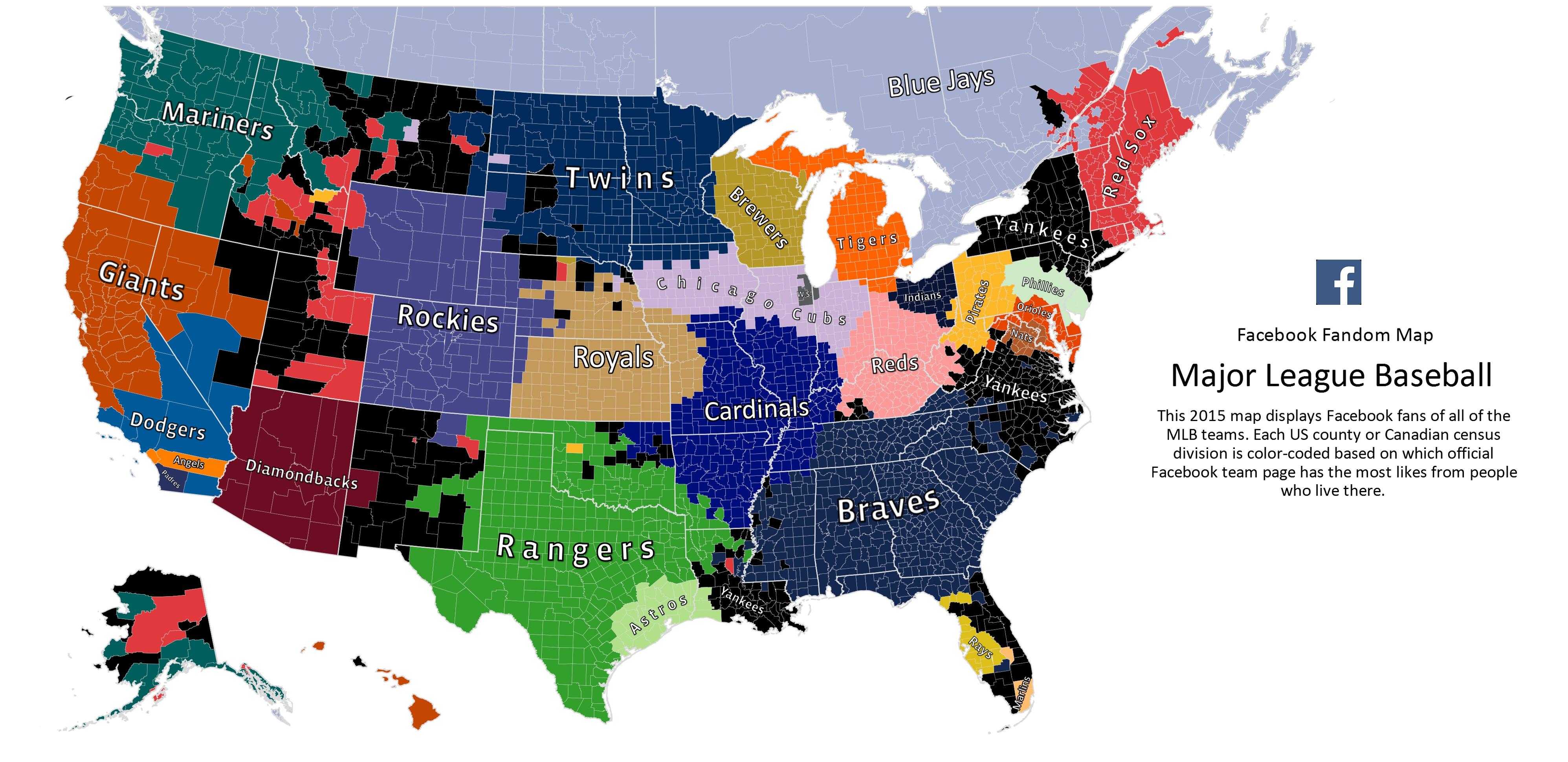 Here's Facebook's 2015 Mlb Fandom Map - California Baseball Teams Map