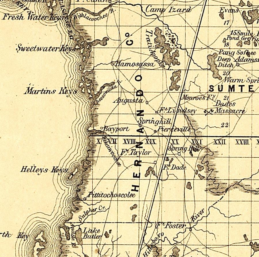Hernando County, 1859 - Hernando Florida Map