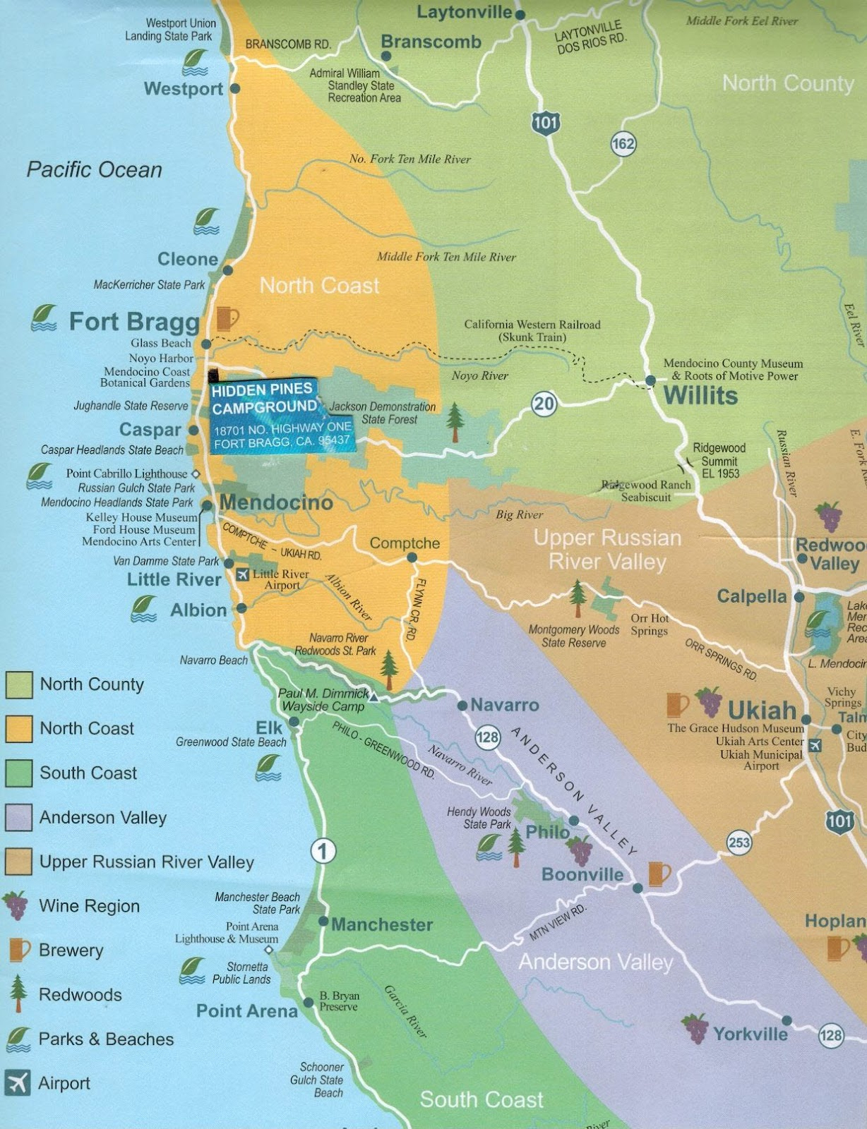 Hidden Pines Rv Park Campground - Fort Bragg California : Maps Fort - California Rv Campgrounds Map