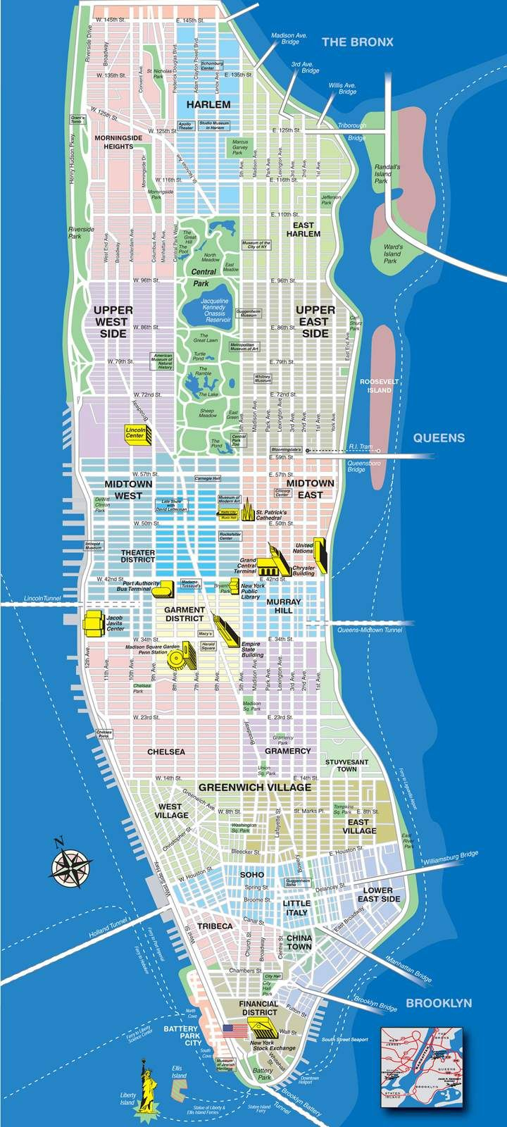 High-Resolution Map Of Manhattan For Print Or Download | Usa Travel - New York Downtown Map Printable