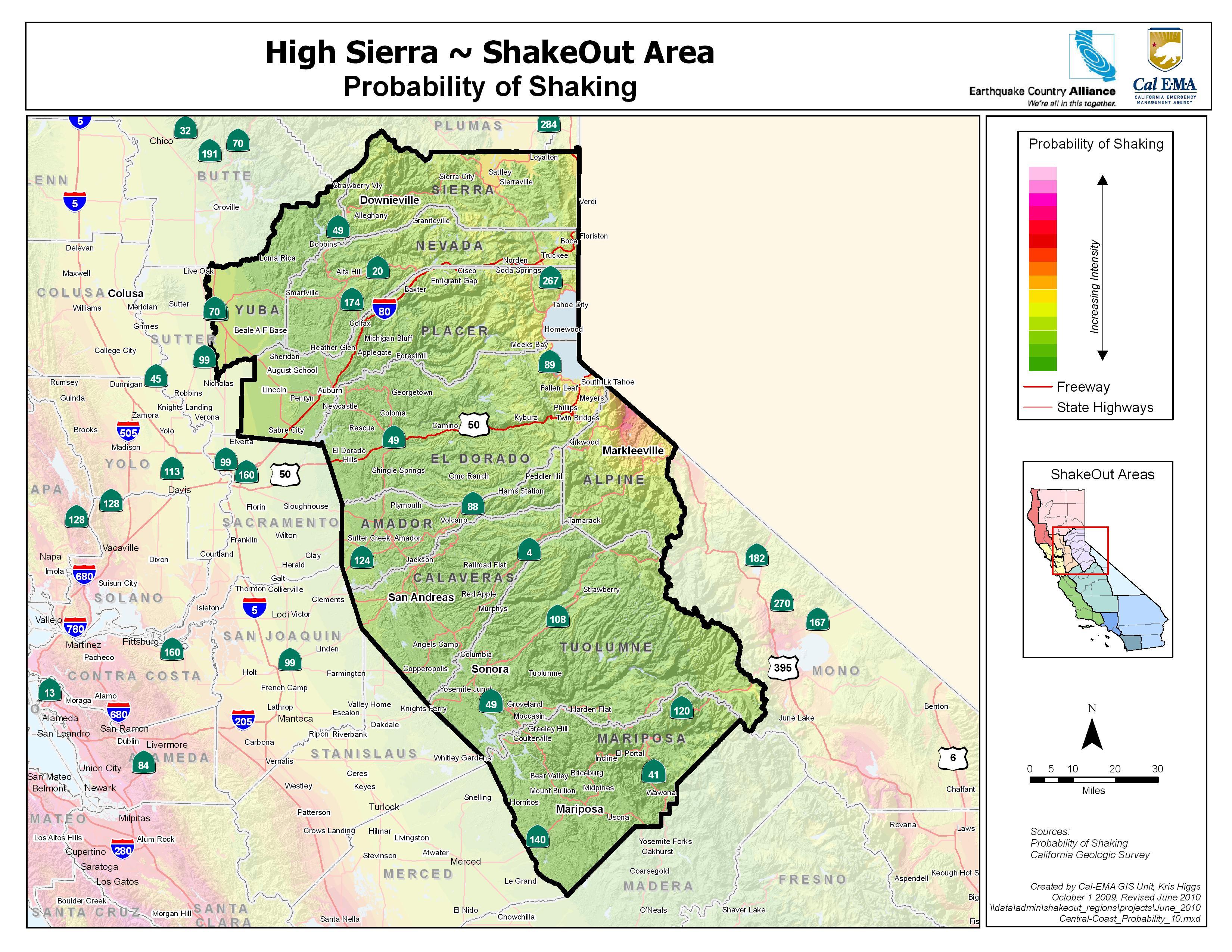High Sierra Probability Map Google Maps California Sierra Nevada Map - Sierra California Map