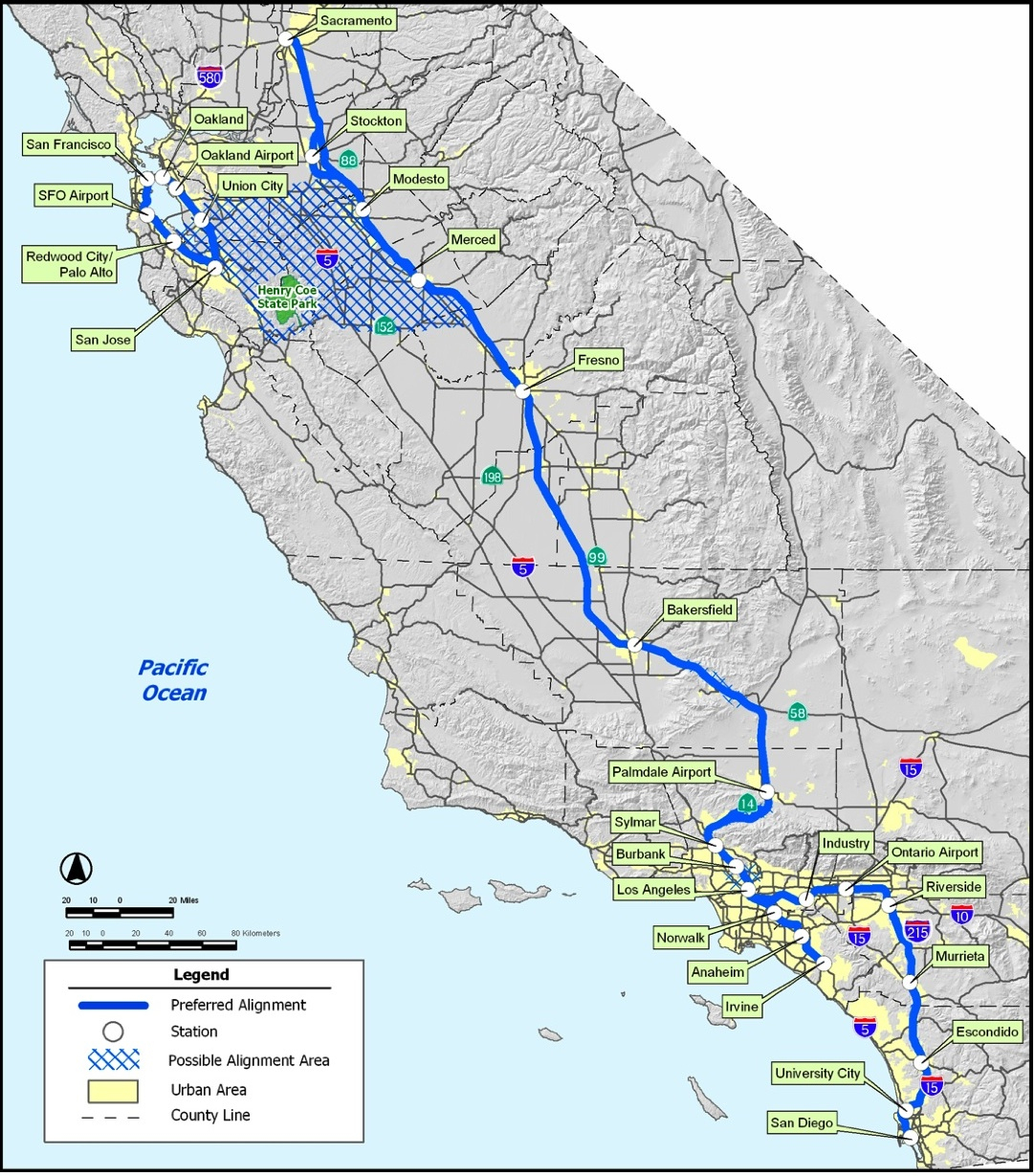 High Speed Rail Part The Cost Of California Hsr Antiplanner In Map - High Speed Rail California Map