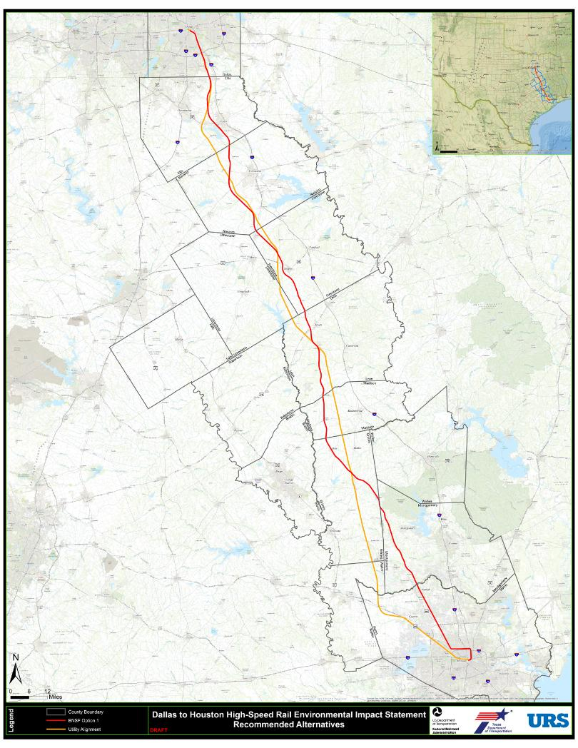 "High Speed Rail Project Moving Forward With New Focus On ""utility - High Speed Rail Texas Route Map"