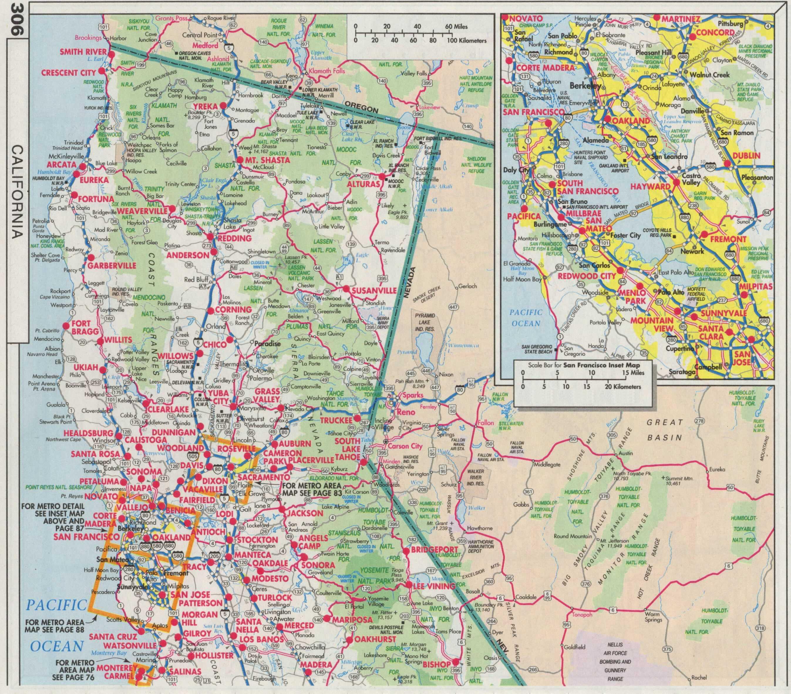 Highway Map Of Northern California - Klipy - Driving Map Of Northern California
