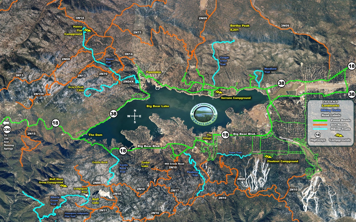 Hiking Map Big Bear Labeled Map With Bear Mountain California Map - Big Bear Mountain Map California