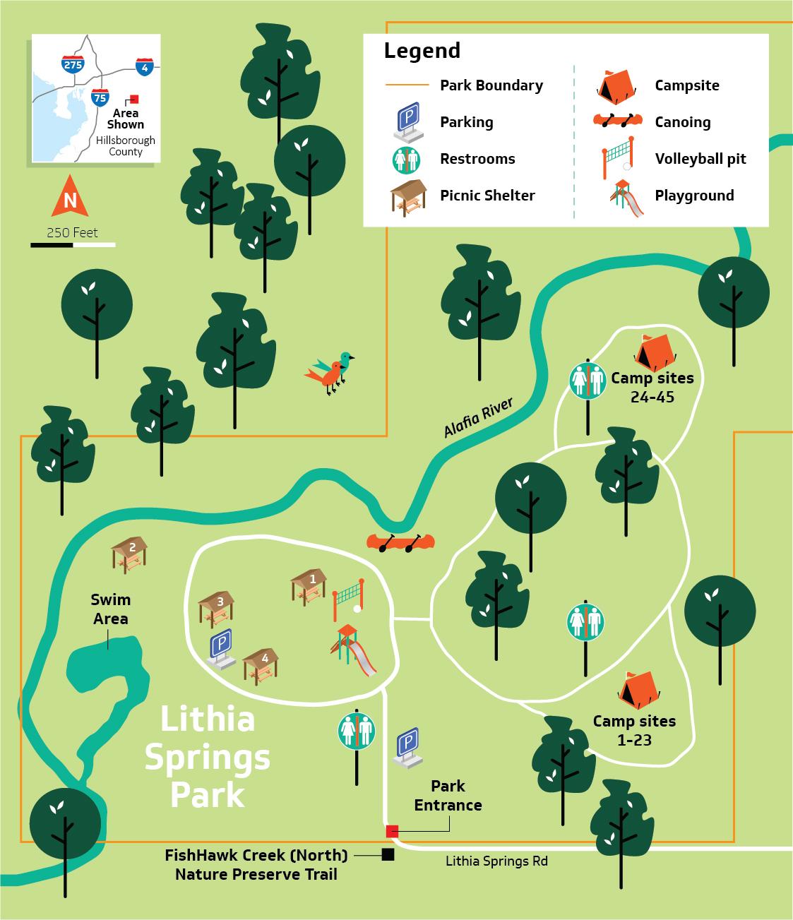 Hillsborough County - Lithia Springs Conservation Park - Lithia Florida Map