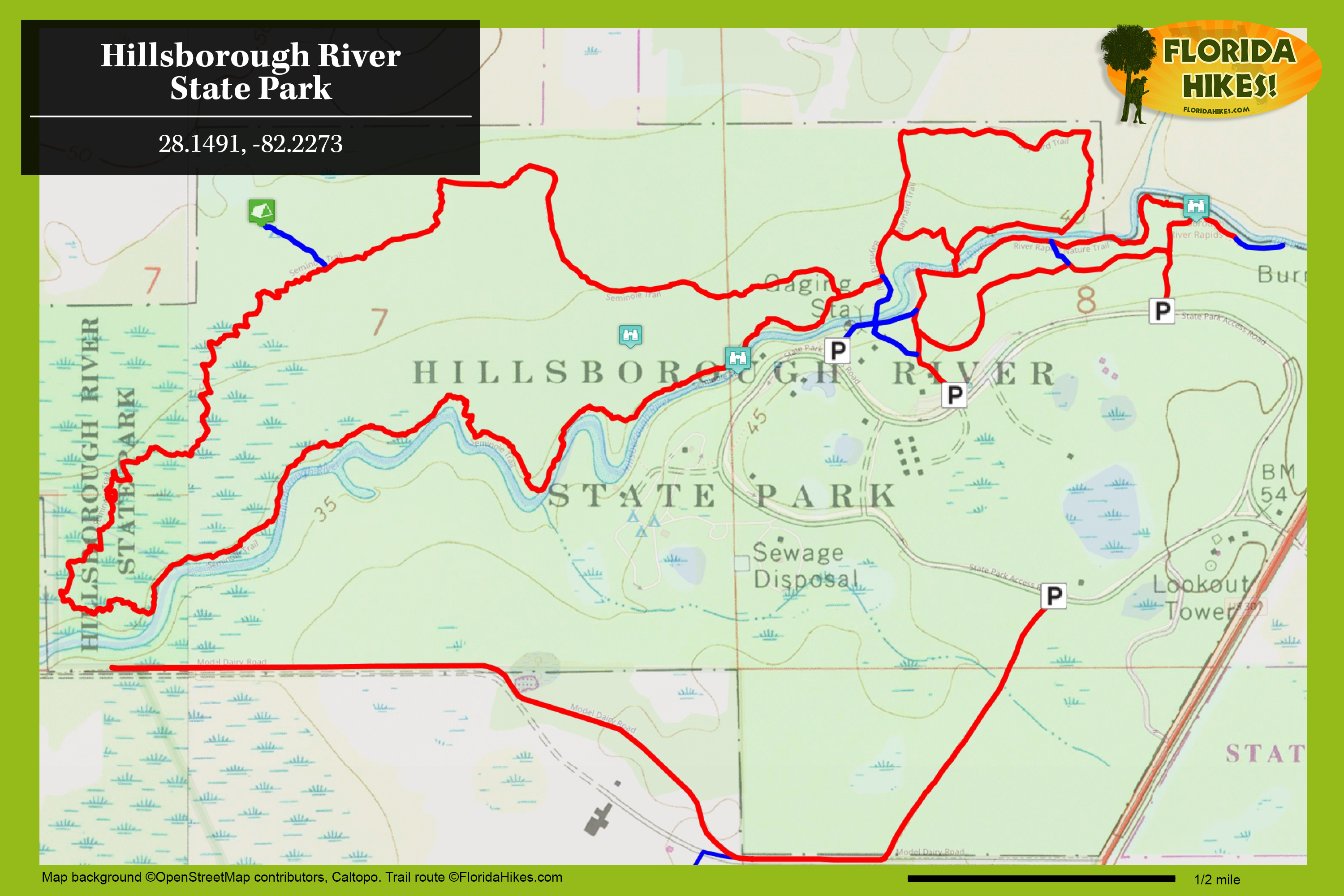 Hillsborough River Hiking Trails | Florida Hikes! - Rails To Trails Florida Map
